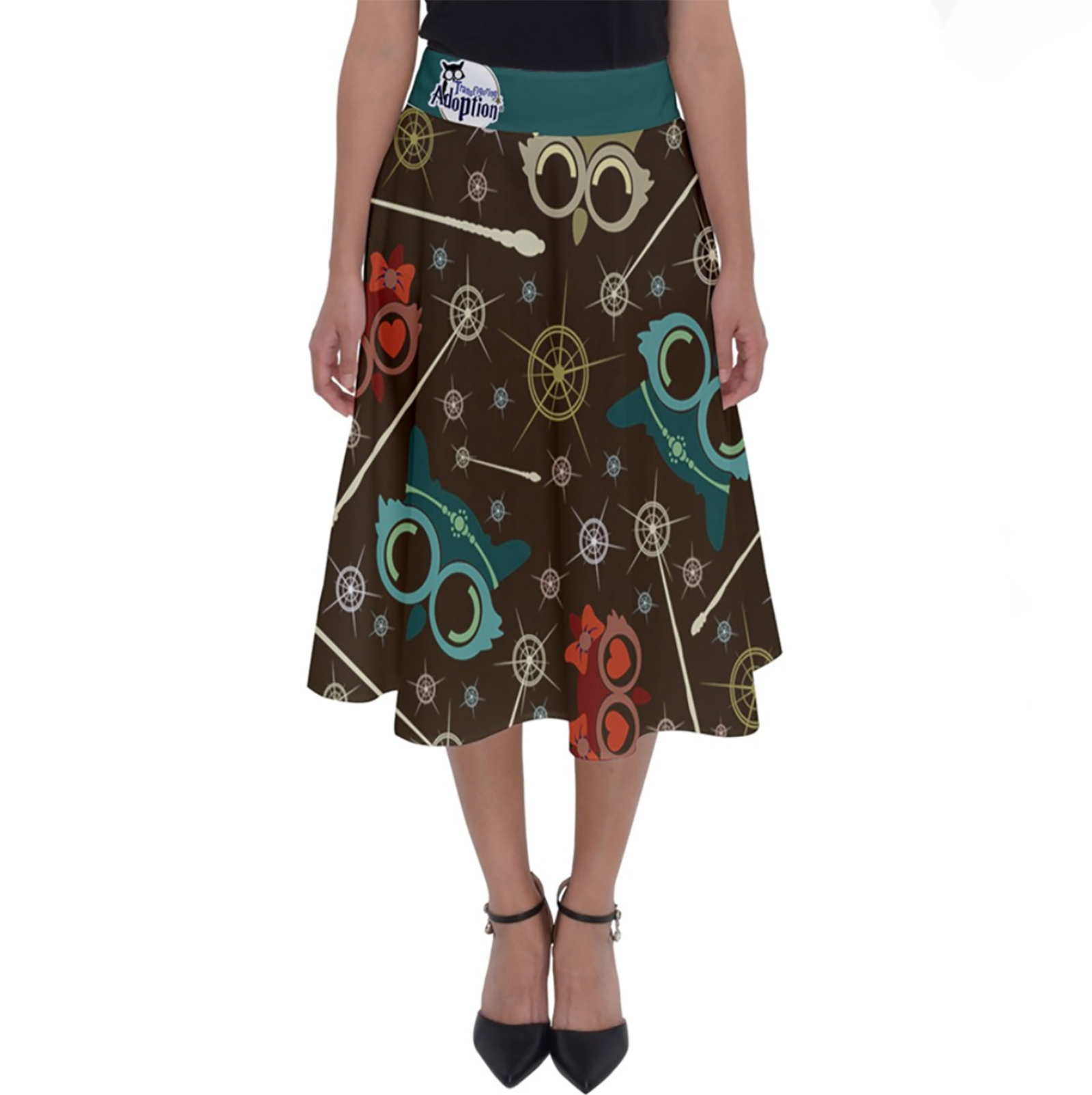 Vintage Emoji Owl Perfect Length Midi Skirt (Patterned - blue Waist)
