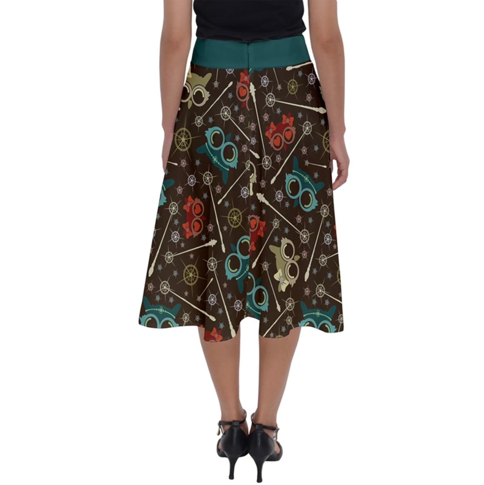 Vintage Emoji Owl Perfect Length Midi Skirt (Patterned - blue Waist)