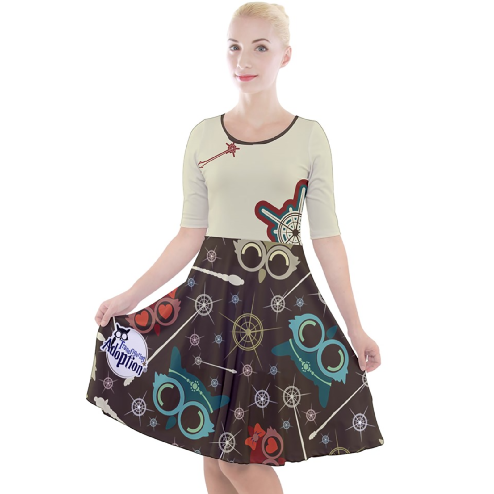 Vintage Emoji Owl Quarter Sleeve A-Line Dress