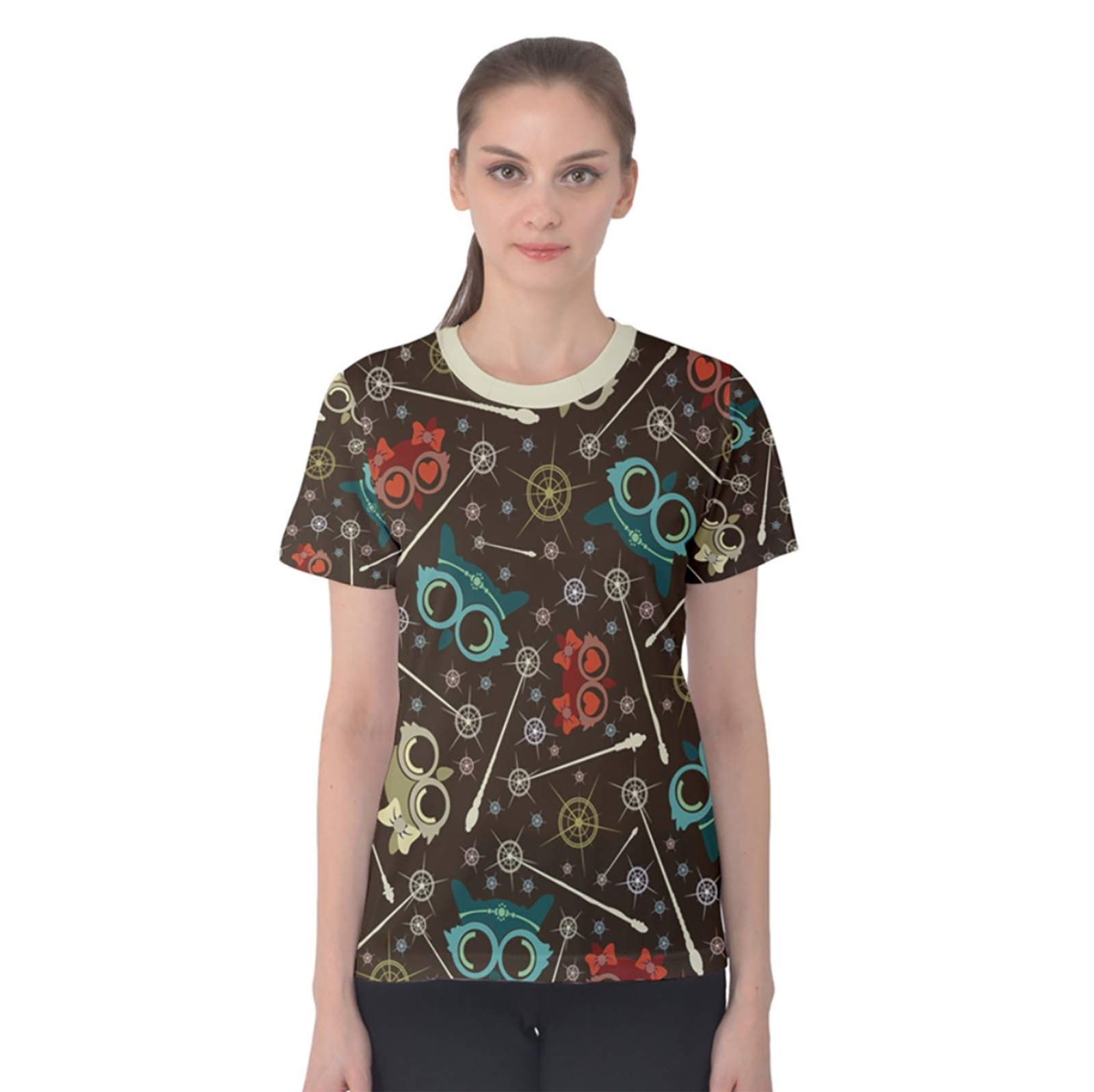 Vintage Emoji Owl Women's Cotton Tee (Patterned)