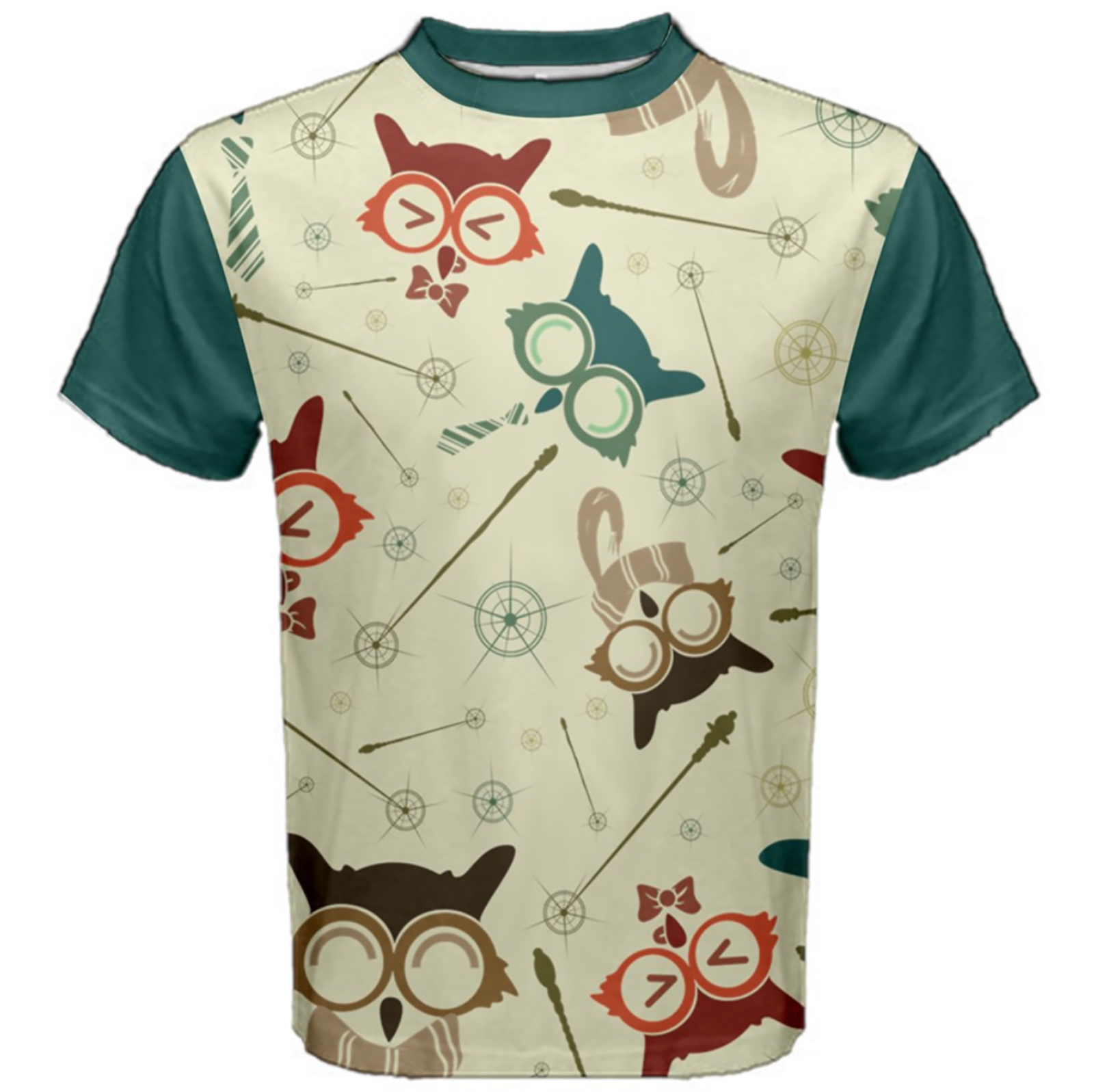 Vintage Emoji Owl Cotton Tee (Patterned- Blue Sleeves)