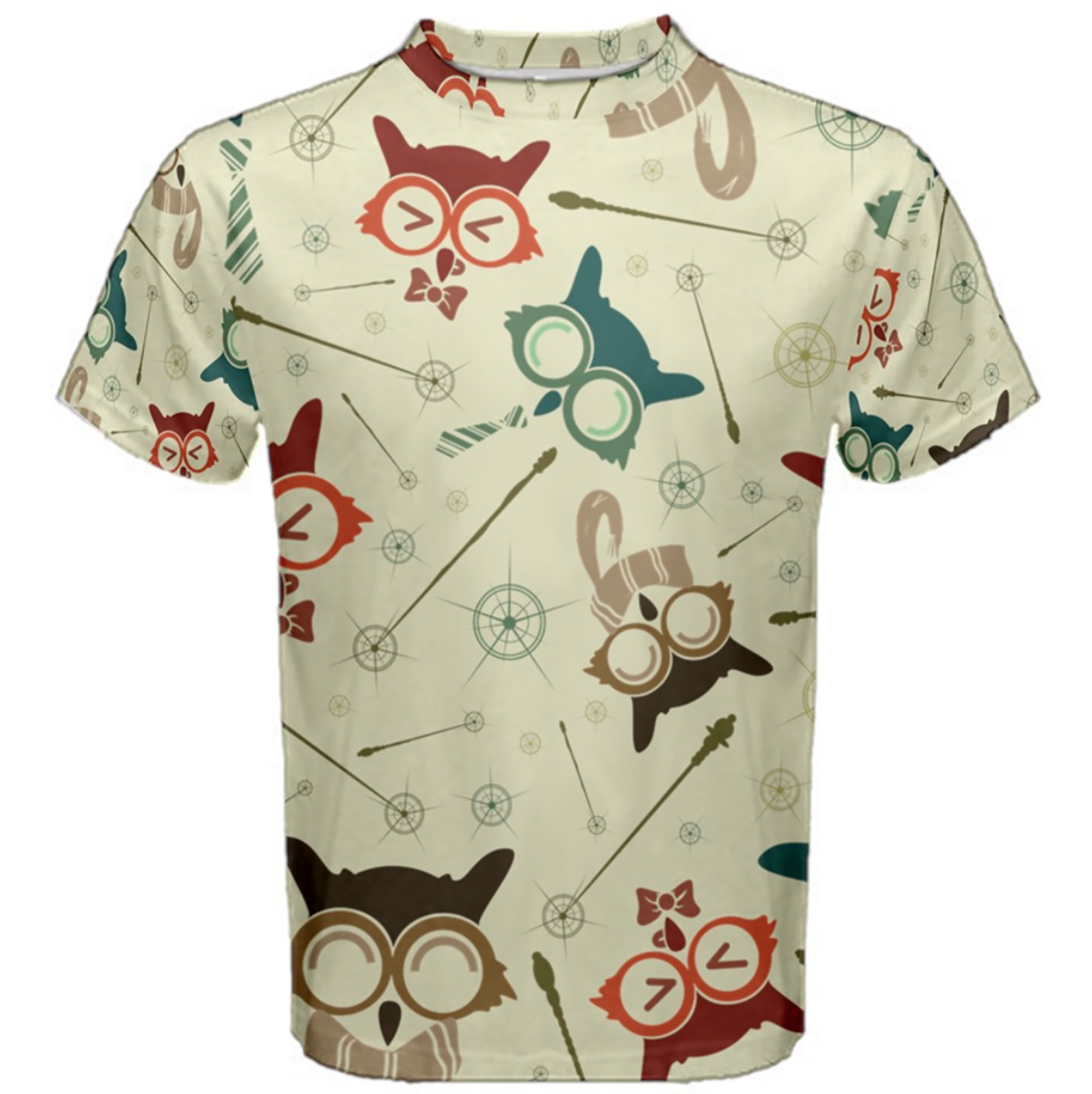 Vintage Emoji Owl Cotton Tee (Patterned)