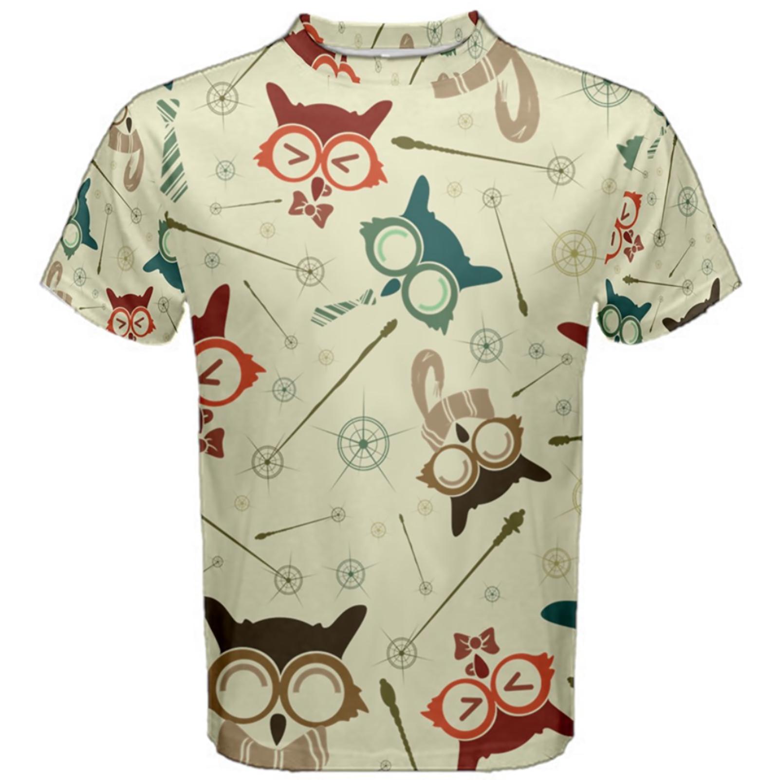 Vintage Emoji Owl Cotton Tee (Patterned)