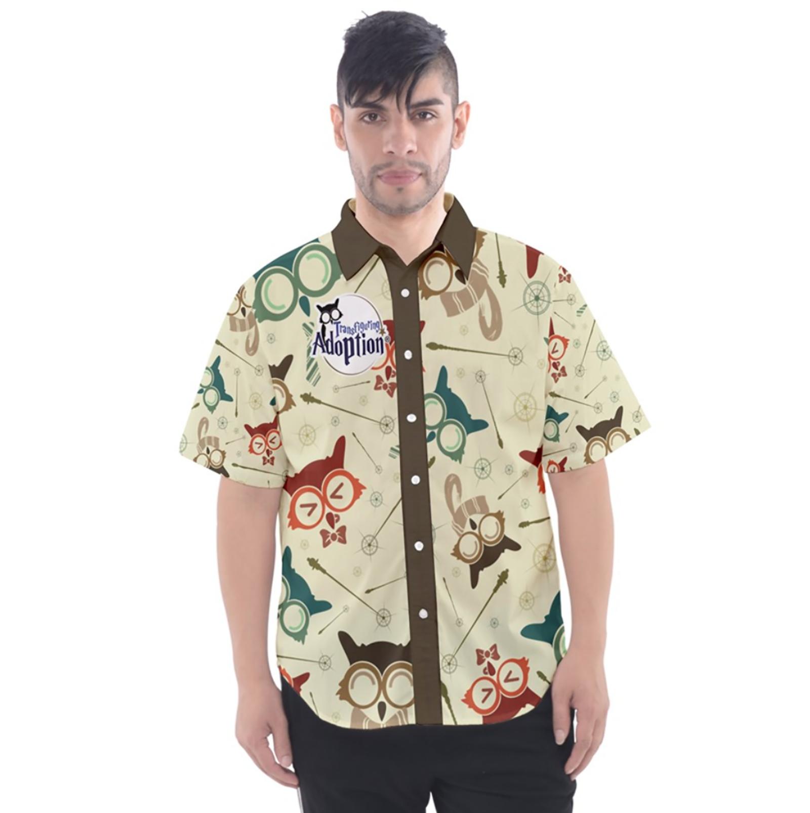 Vintage Emoji Owl Button Up Short Sleeve Shirt (Patterned)