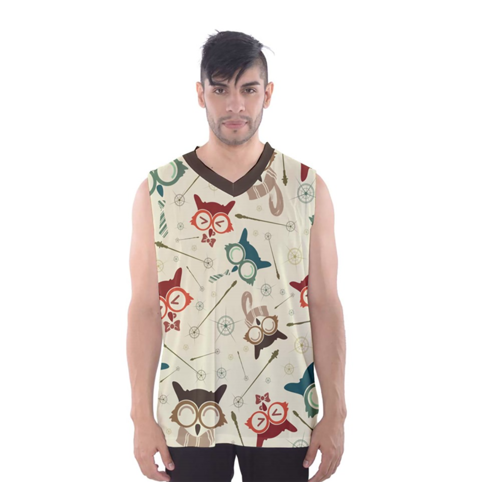 Vintage Emoji Owl Men's Tank Top (Patterned)