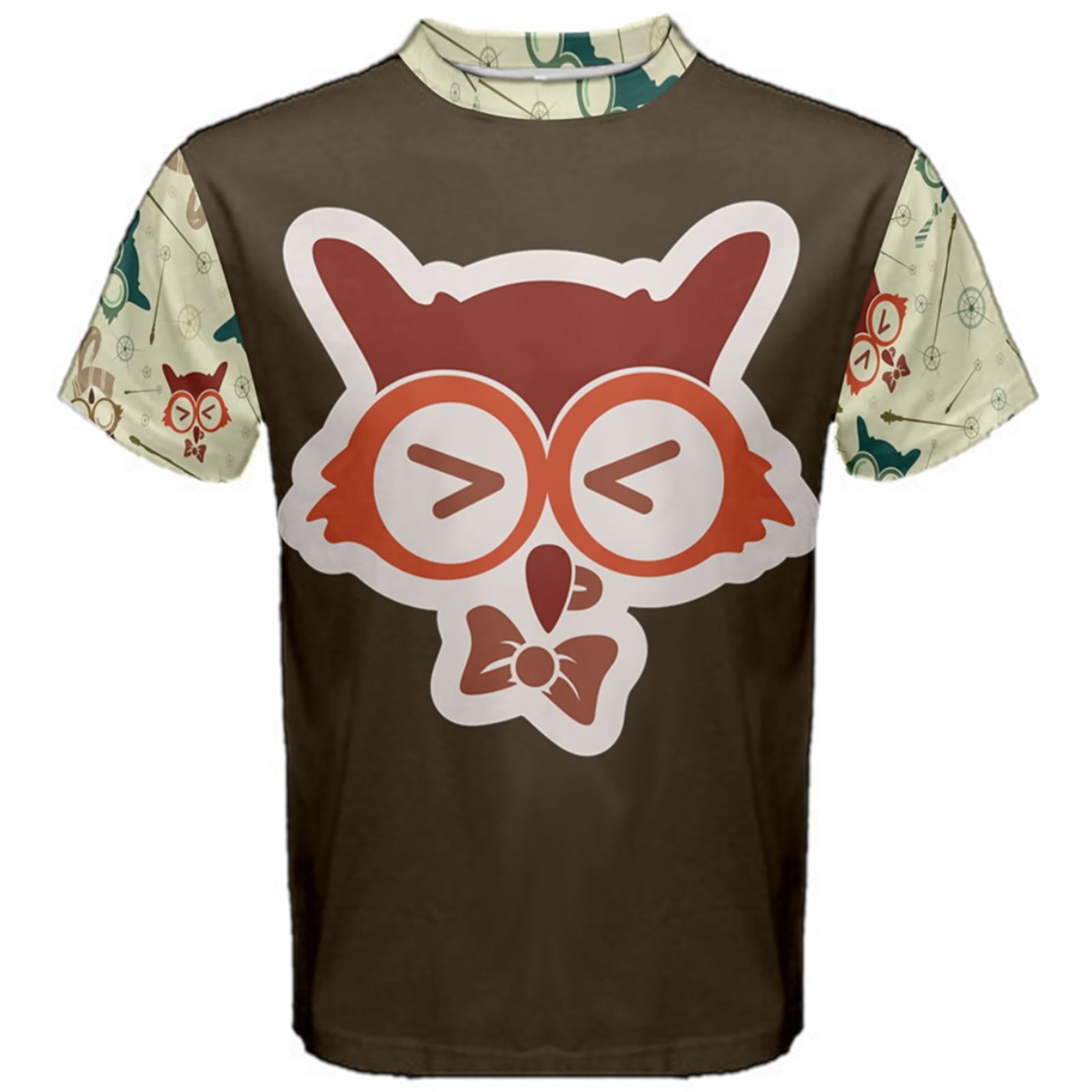 Vintage Emoji Owl Cotton Tee (Red Emoji Owl)
