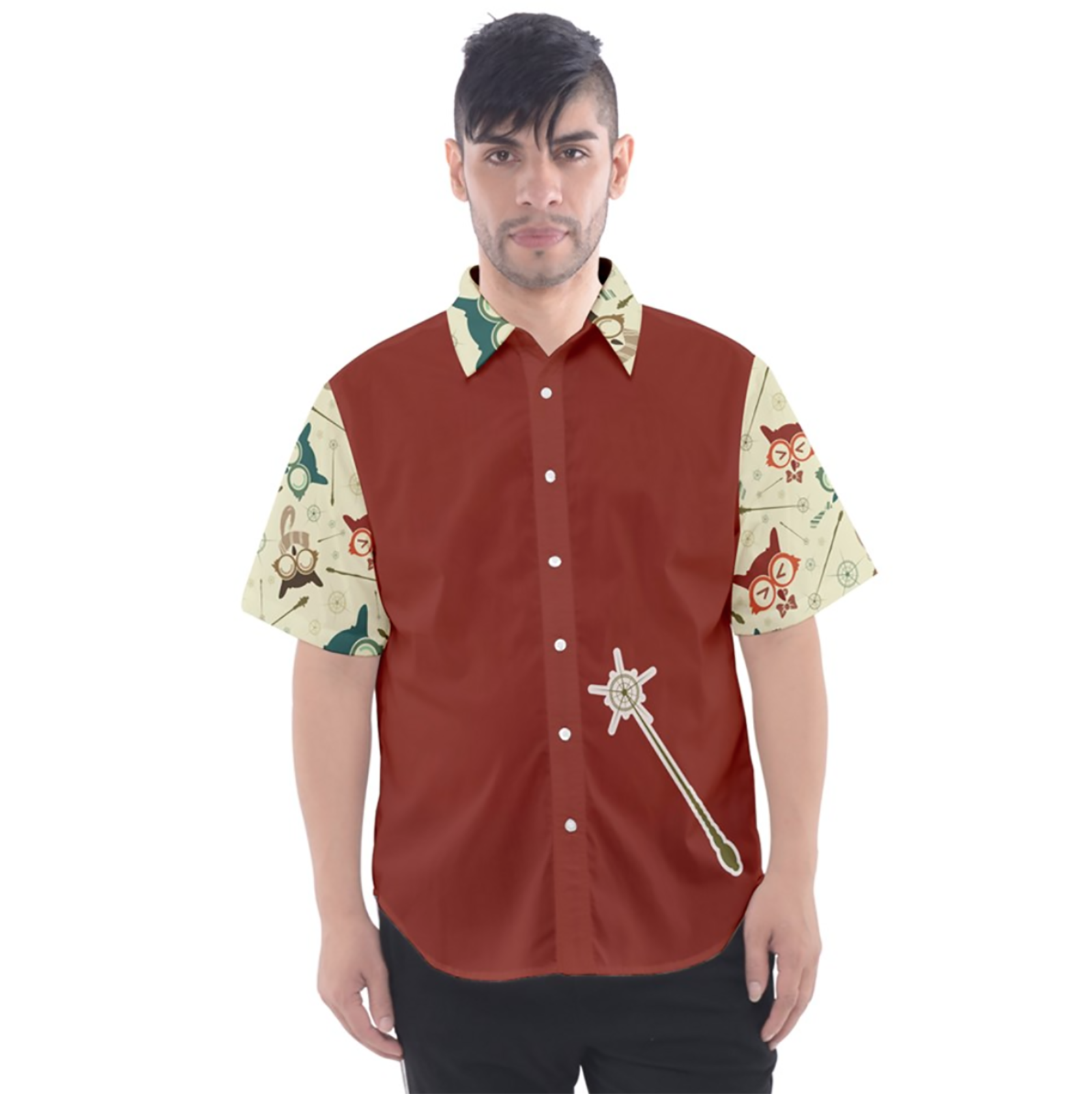 Vintage Emoji Owl Button Up Short Sleeve Shirt (Red Solid Background)