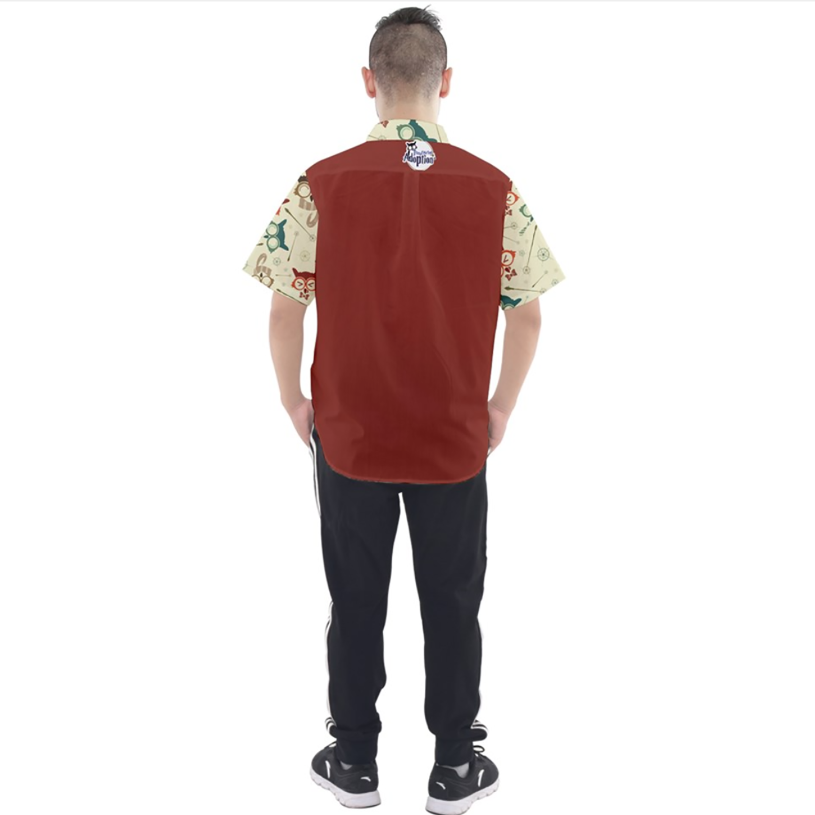 Vintage Emoji Owl Button Up Short Sleeve Shirt (Red Solid Background)
