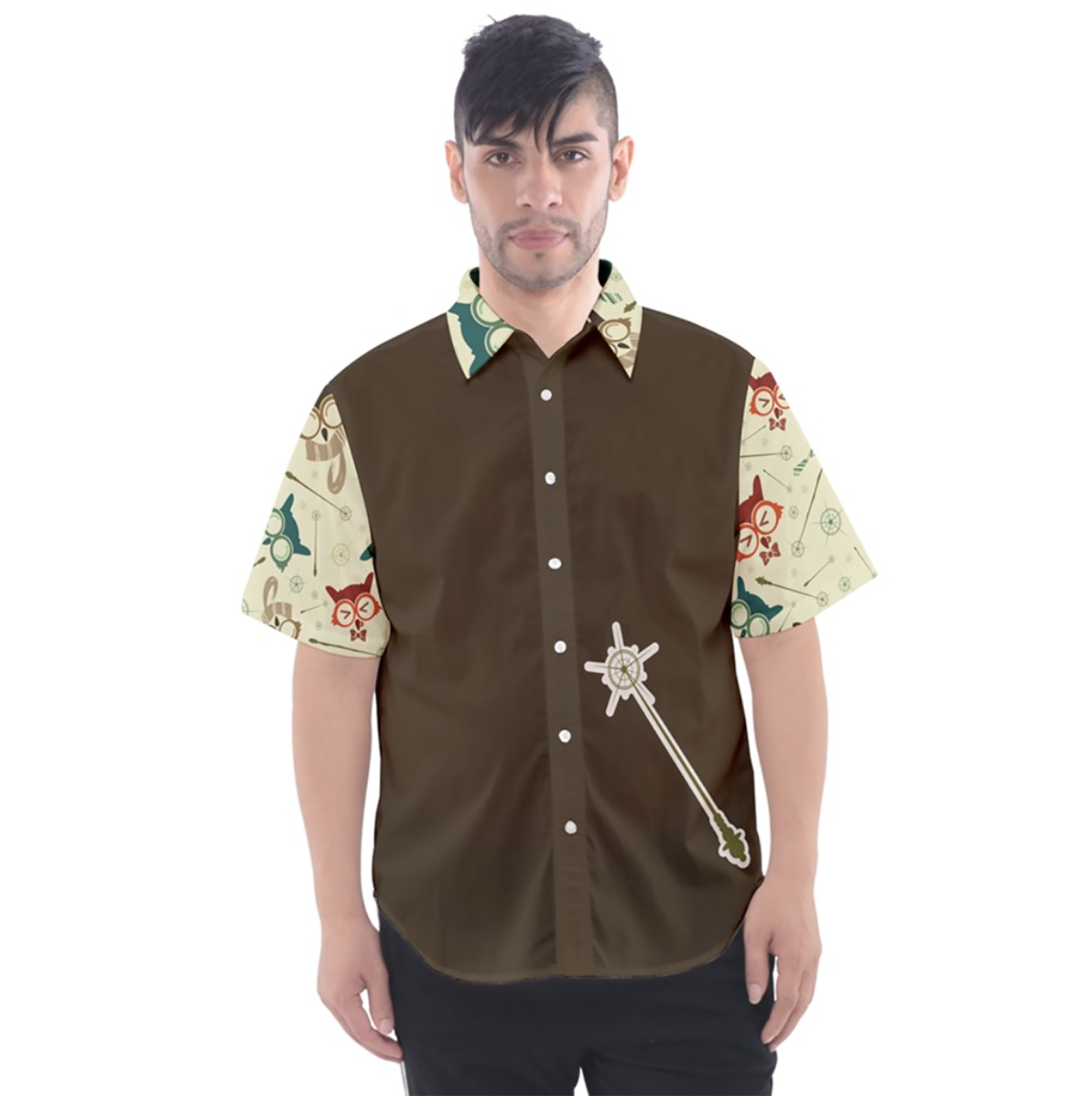 Vintage Emoji Owl Button Up Short Sleeve Shirt (Brown Solid Background)