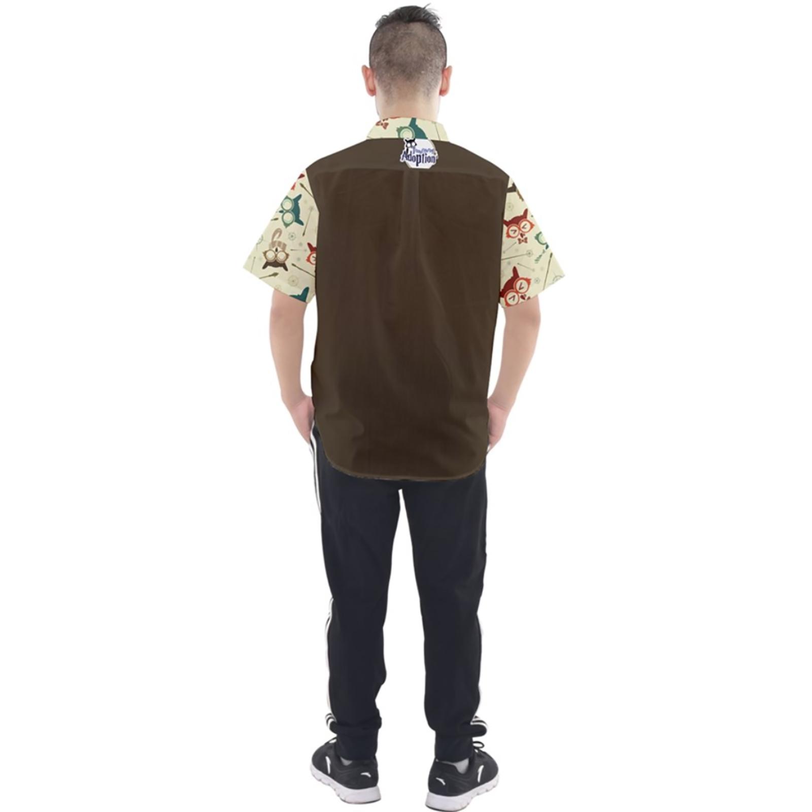 Vintage Emoji Owl Button Up Short Sleeve Shirt (Brown Solid Background)