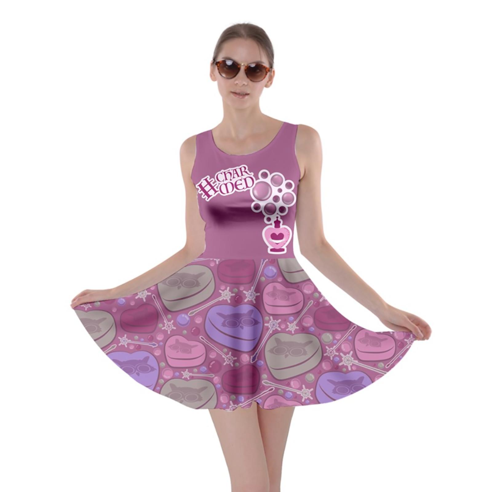 Charmed Pattern Skater Dress (Pink)