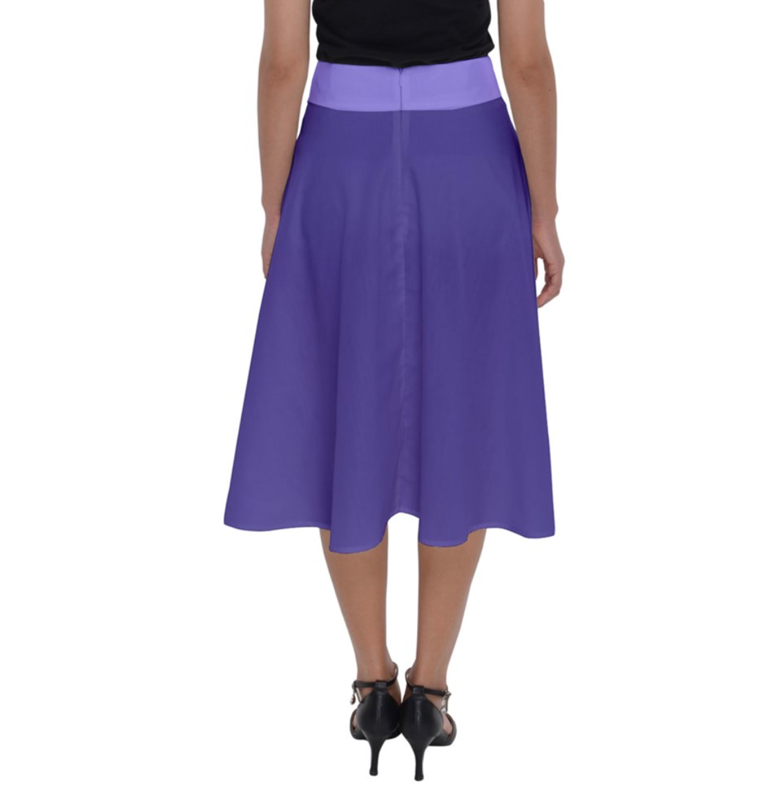 Charmed Perfect Length Midi Skirt (Purple Solid Colored)