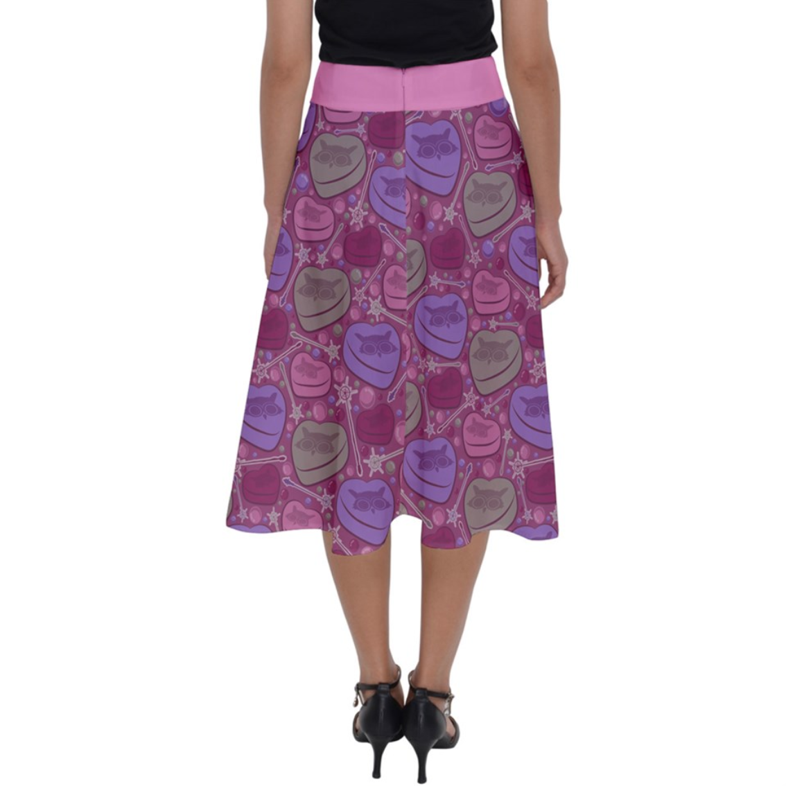 Charmed Perfect Length Midi Skirt (Pink Patterned)