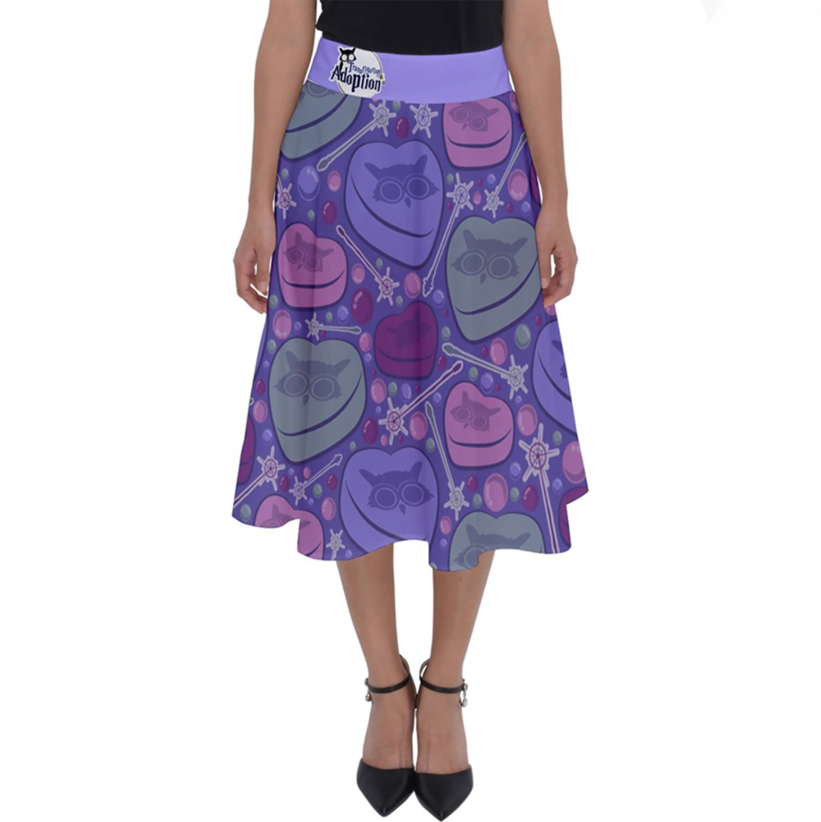 Charmed Perfect Length Midi Skirt (Purple Patterned)
