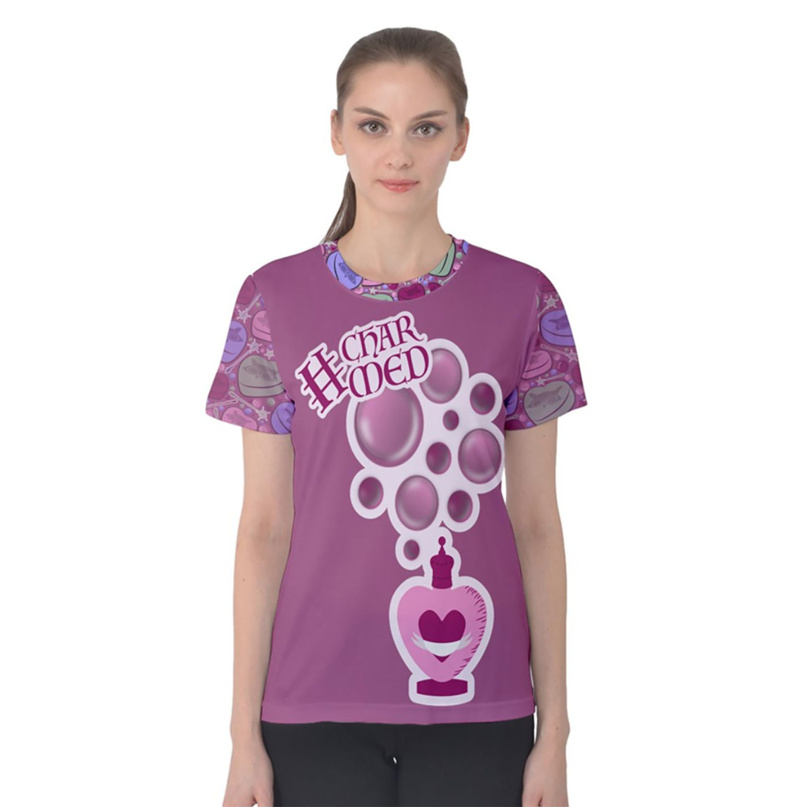 Charmed Women's Cotton Tee (Pink Solid Body)