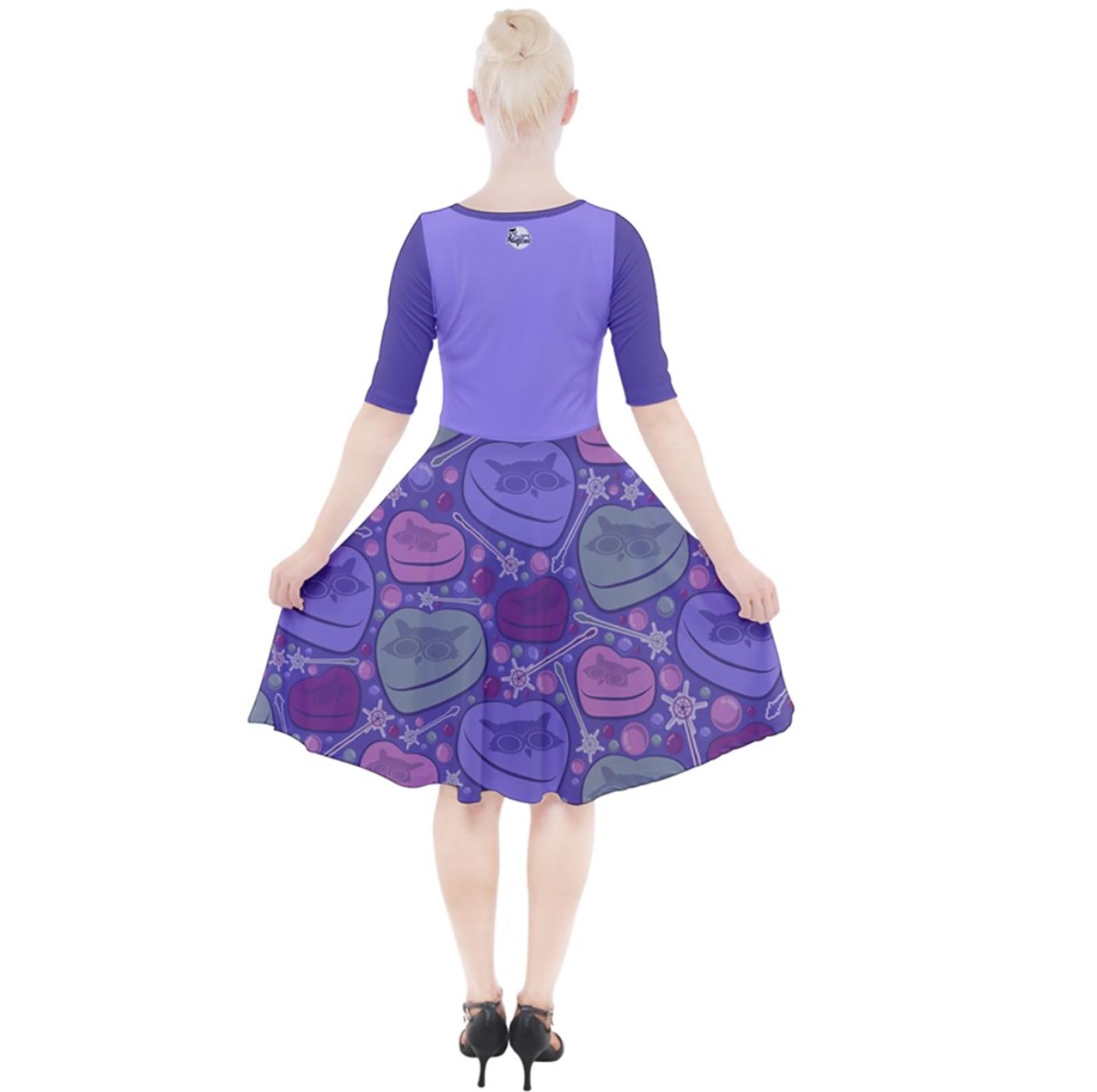 Charmed Quarter Sleeve A-Line Dress (Purple)