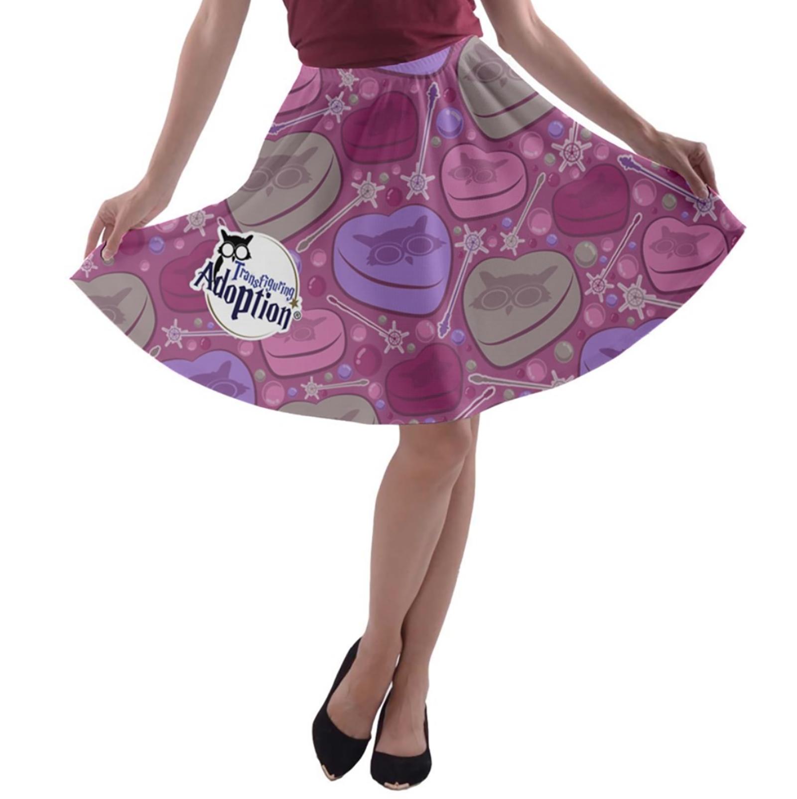 Charmed A-line Skater Skirt (Pink)