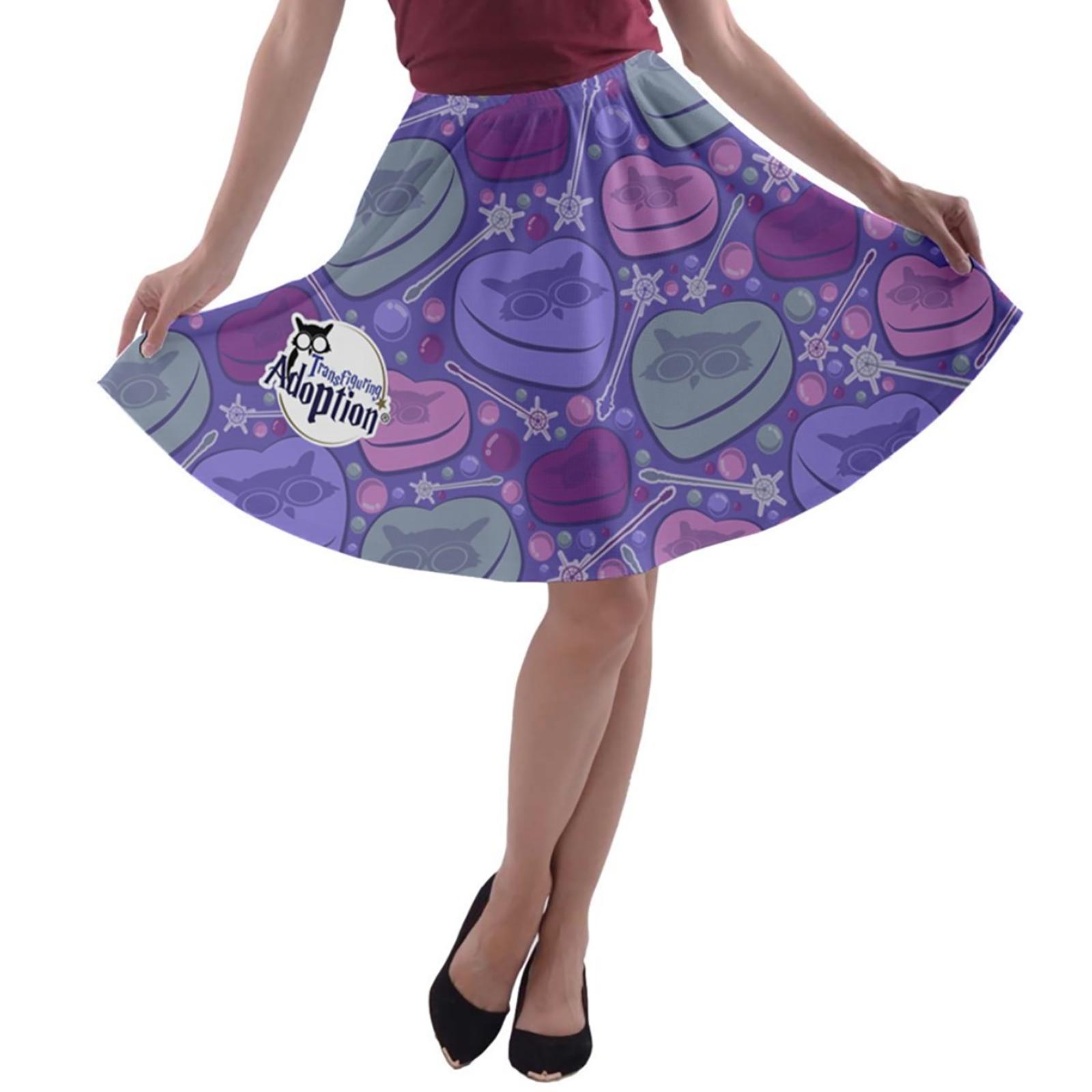 Charmed A-line Skater Skirt (Purple)