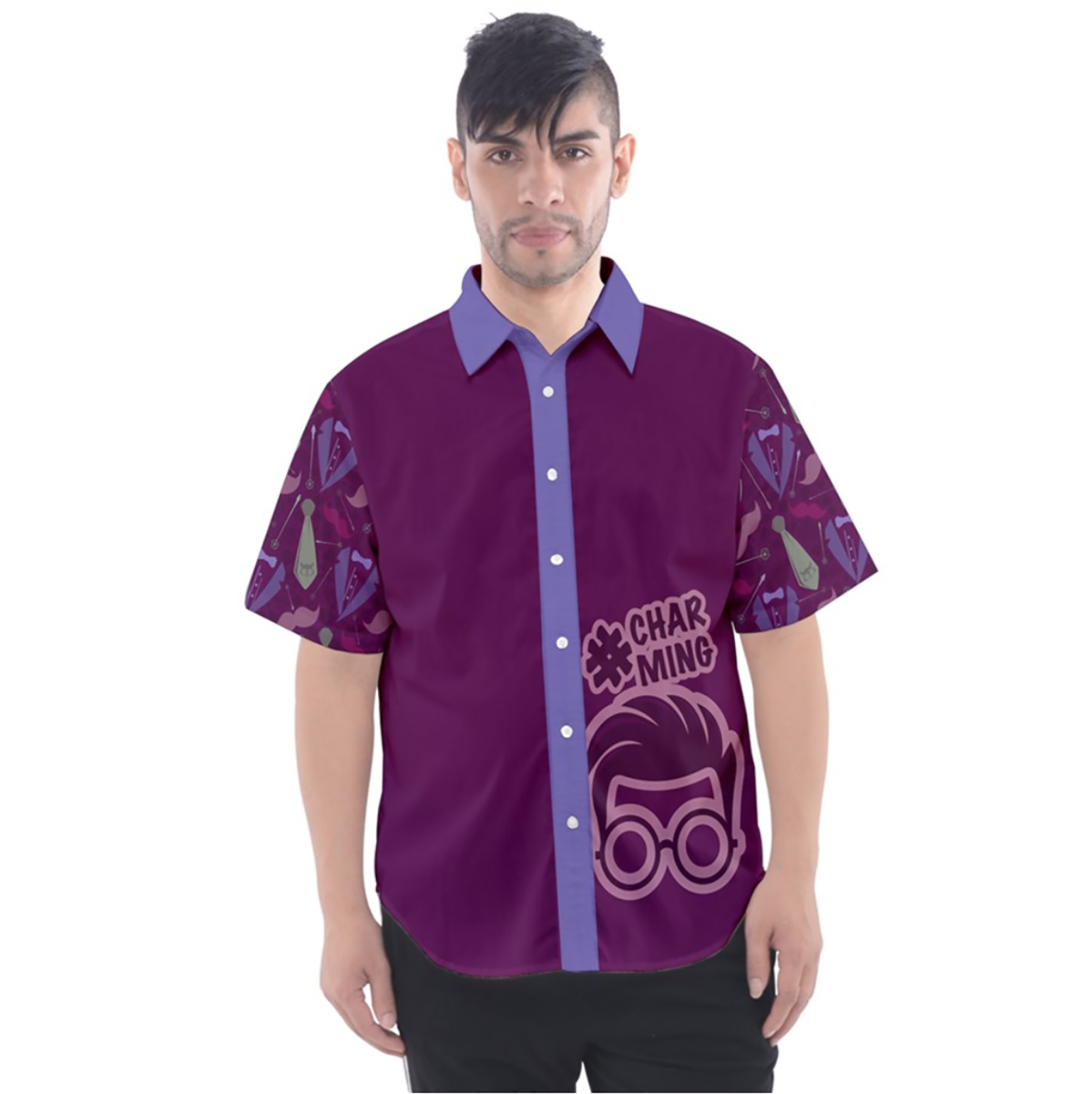 Charming Button Up Short Sleeve Shirt (Patterned)