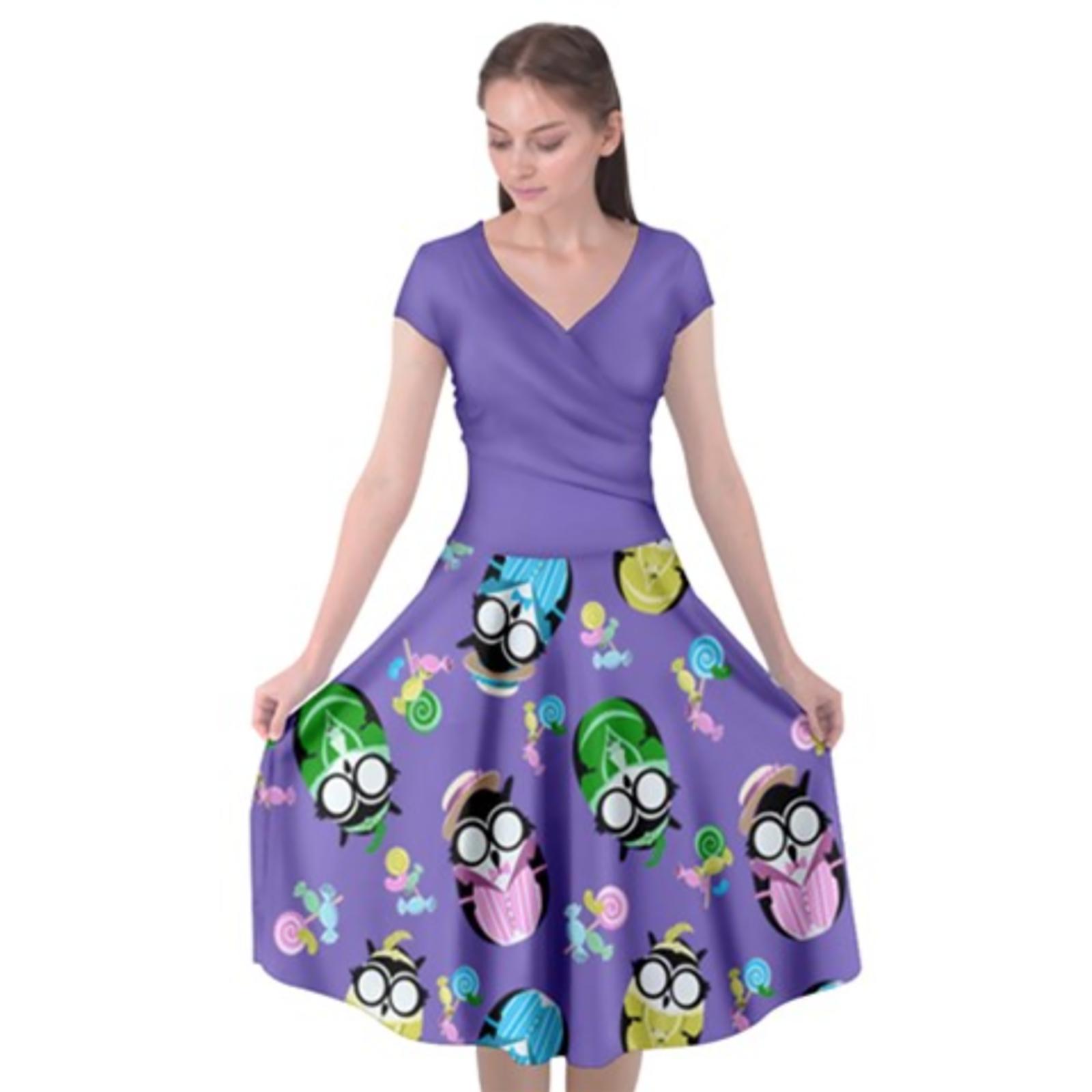 Easter Egg Owl Cap Sleeve Wrap Front Dress
