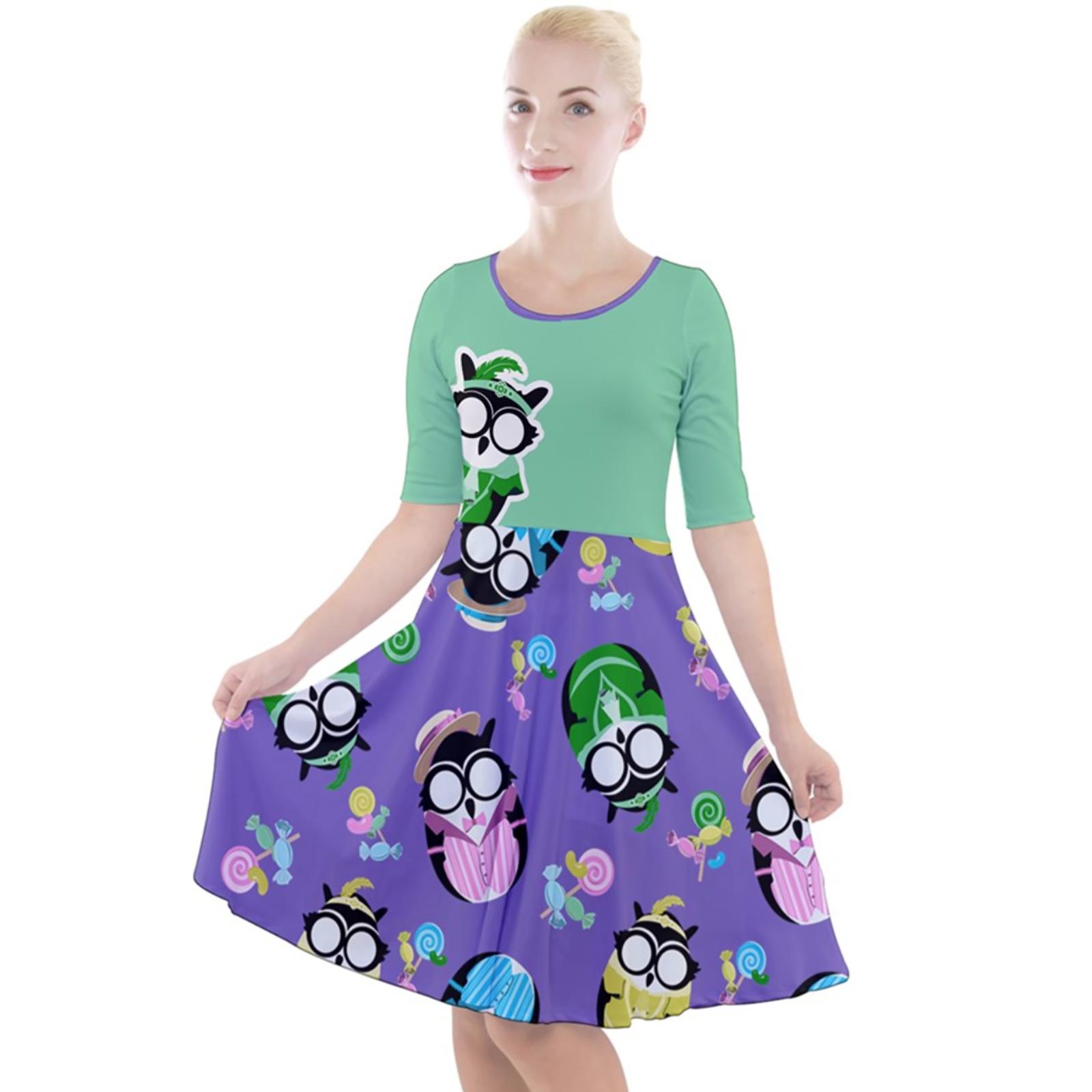 Easter Owl Quarter Sleeve A-Line Dress
