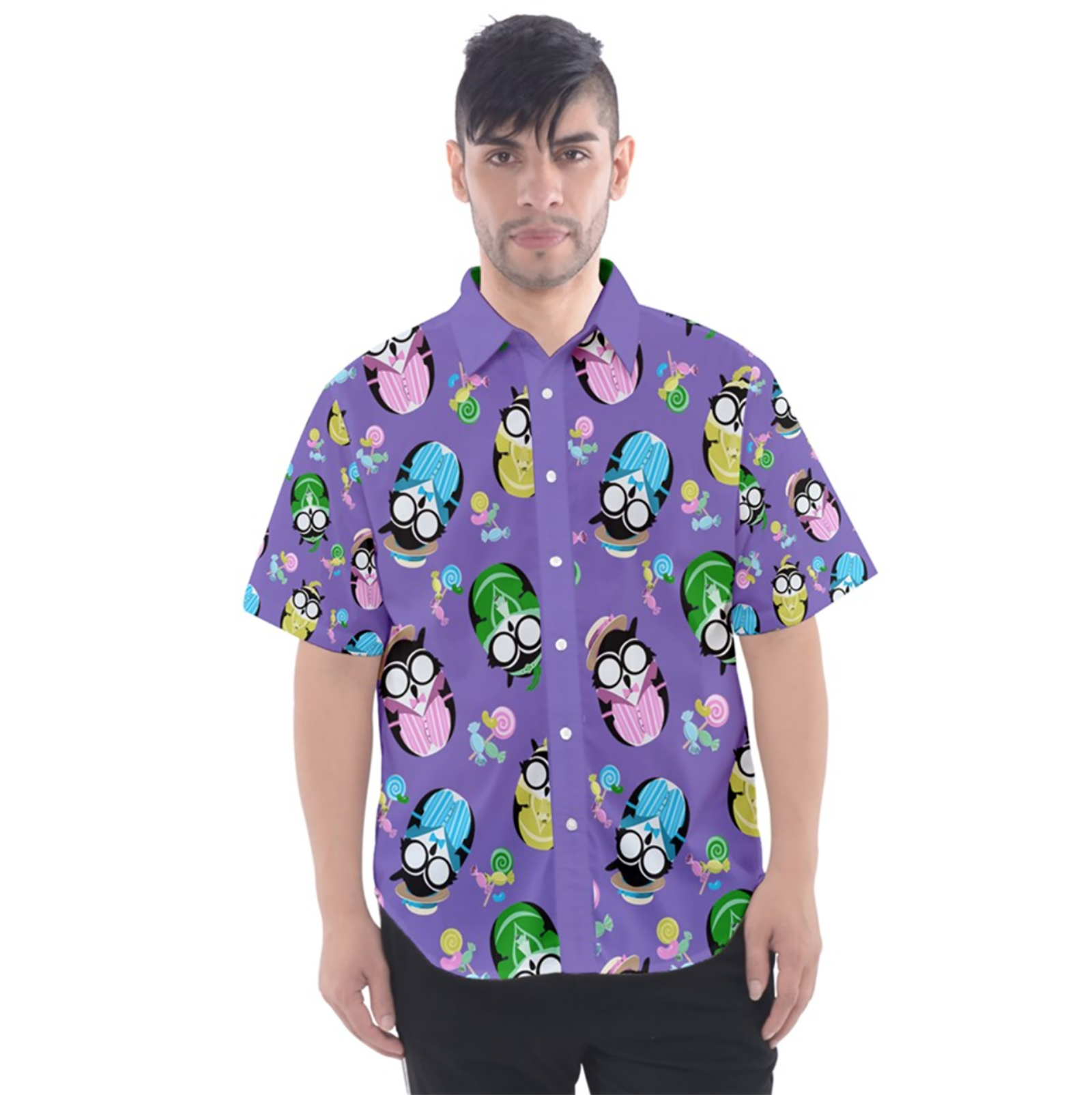 Easter Owl Patterned Button Up Short Sleeve Shirt