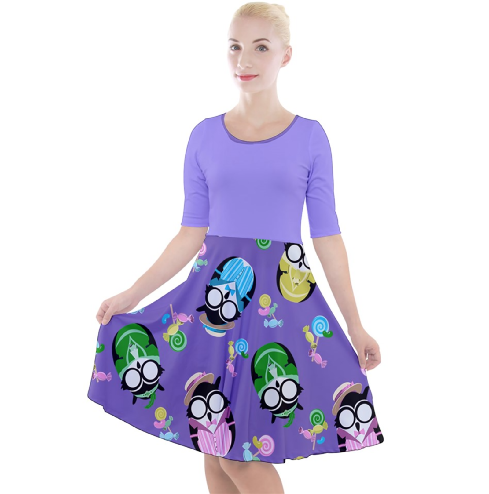 Easter Owl Quarter Sleeve A-Line Dress (Purple top)