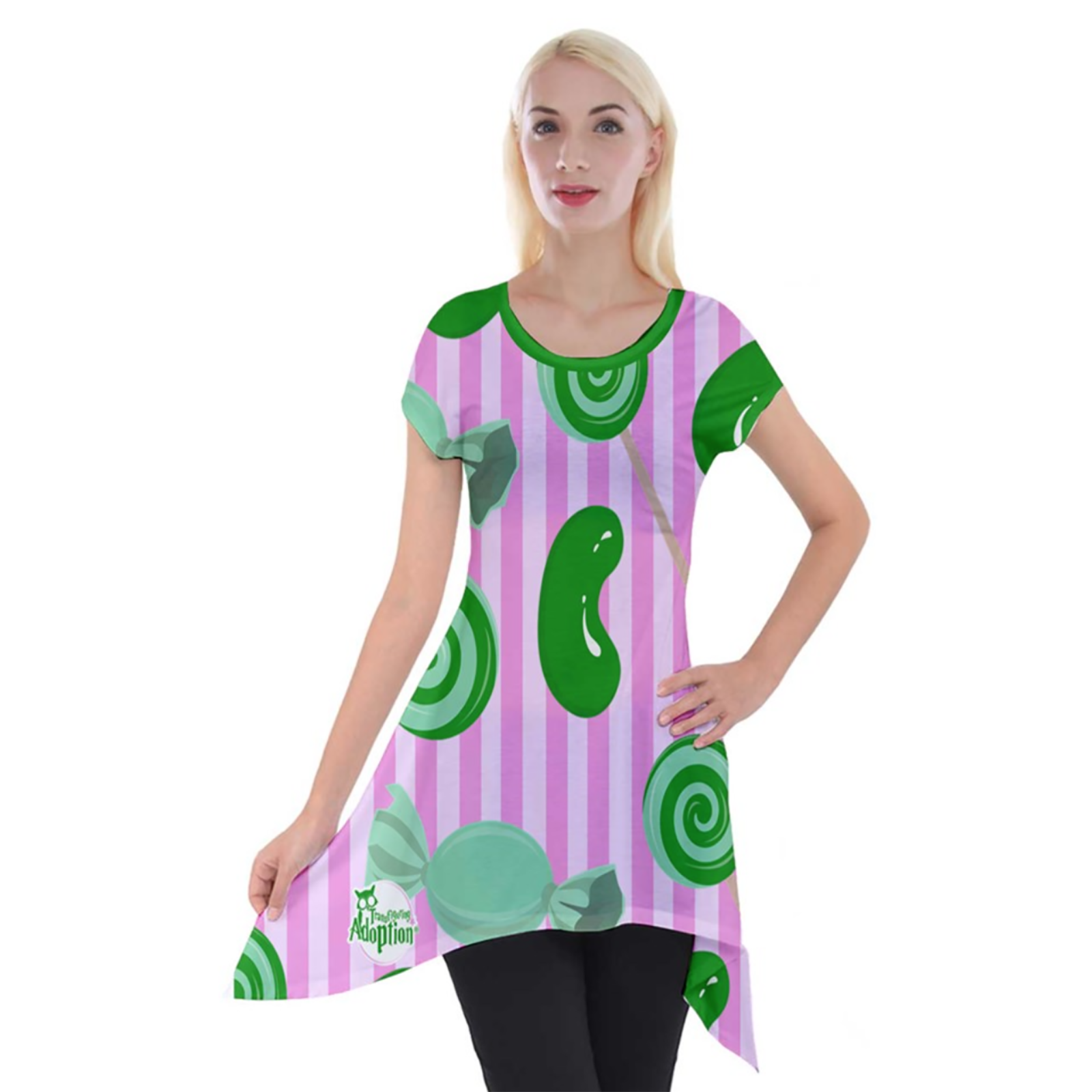Candy Store Owl Women's Short Sleeve Side Drop Tunic (candy pattern)