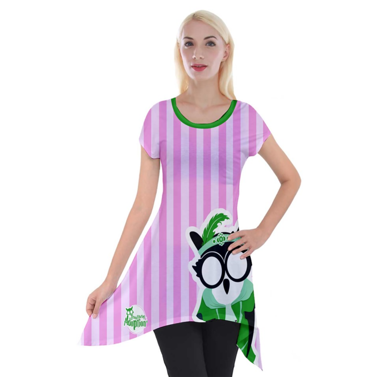 Candy Store Owl Women's Short Sleeve Side Drop Tunic (pink background)
