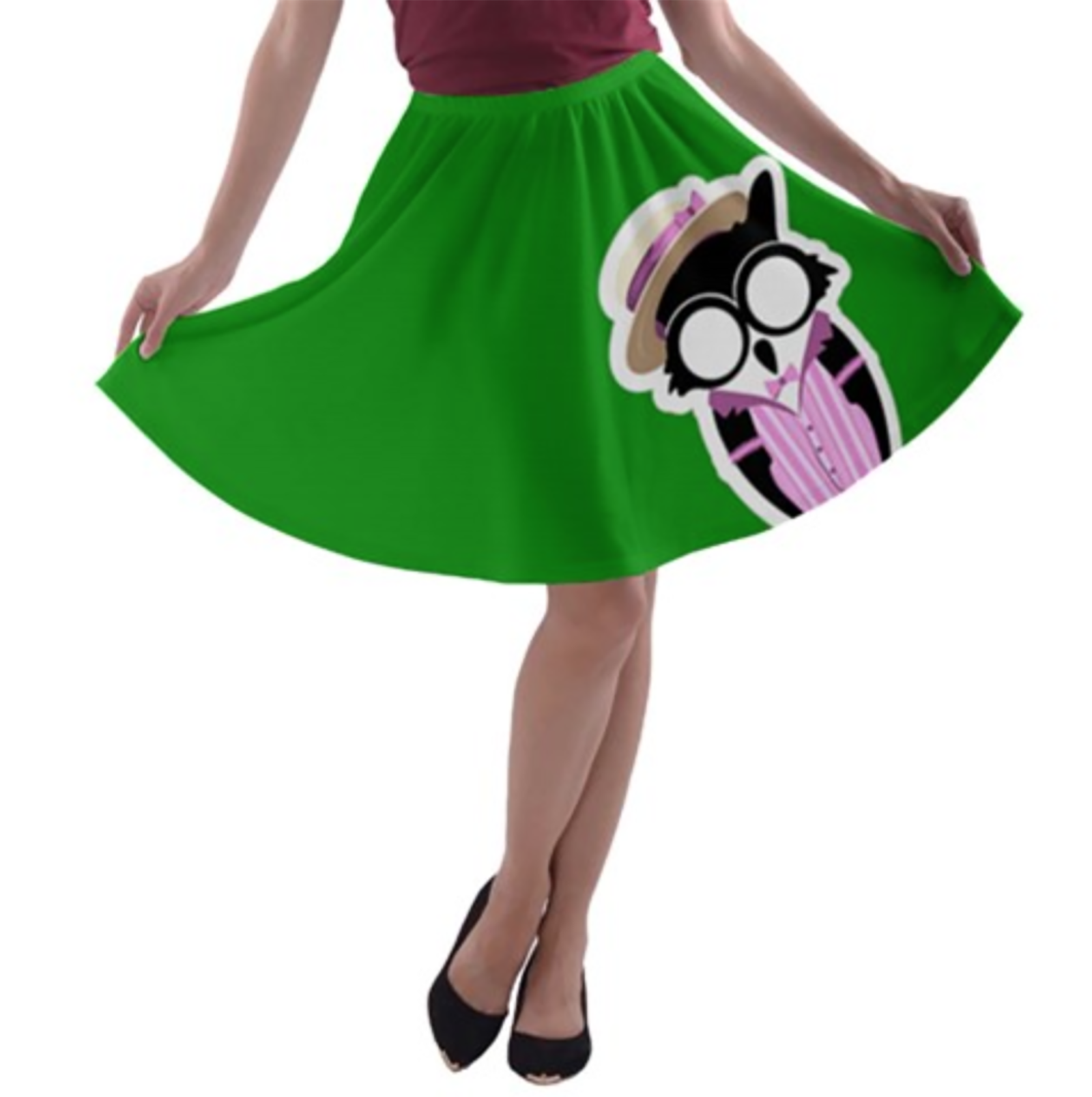 Candy Store Owl A-line Skater Skirt (Green Solid)