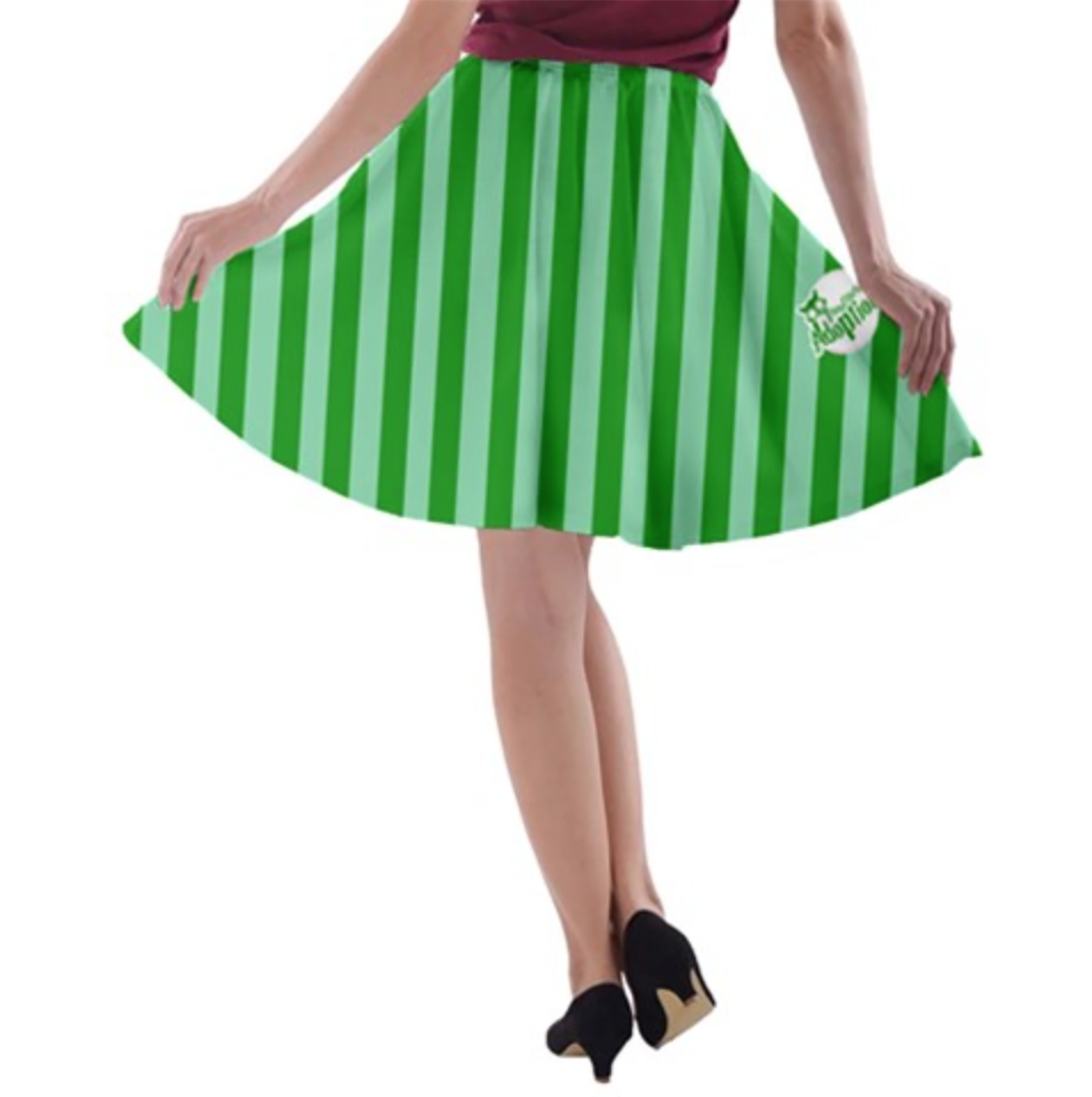 Candy Store Owl A-line Skater Skirt (Green Striped Pattern)