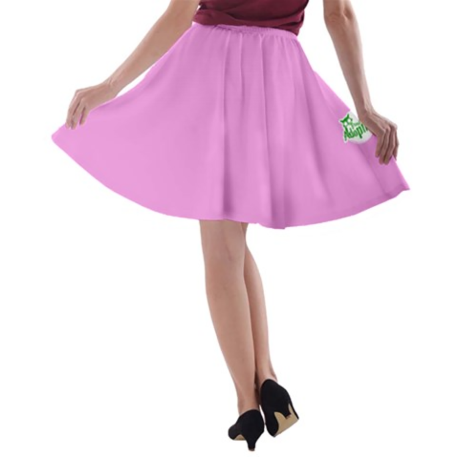 Candy Store Owl A-line Skater Skirt (Pink Solid)