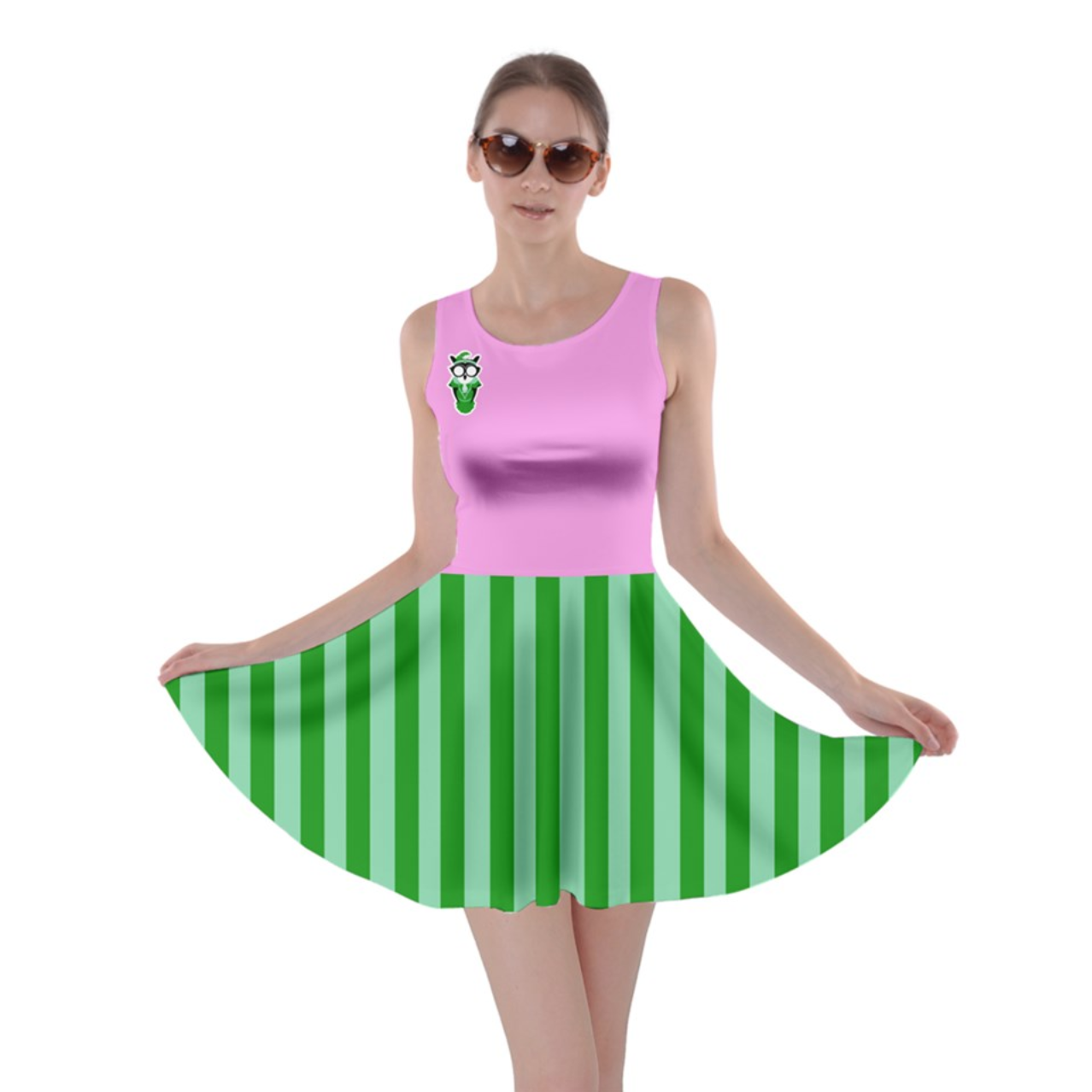 Candy Store Owl Skater Dress (green striped pattern)