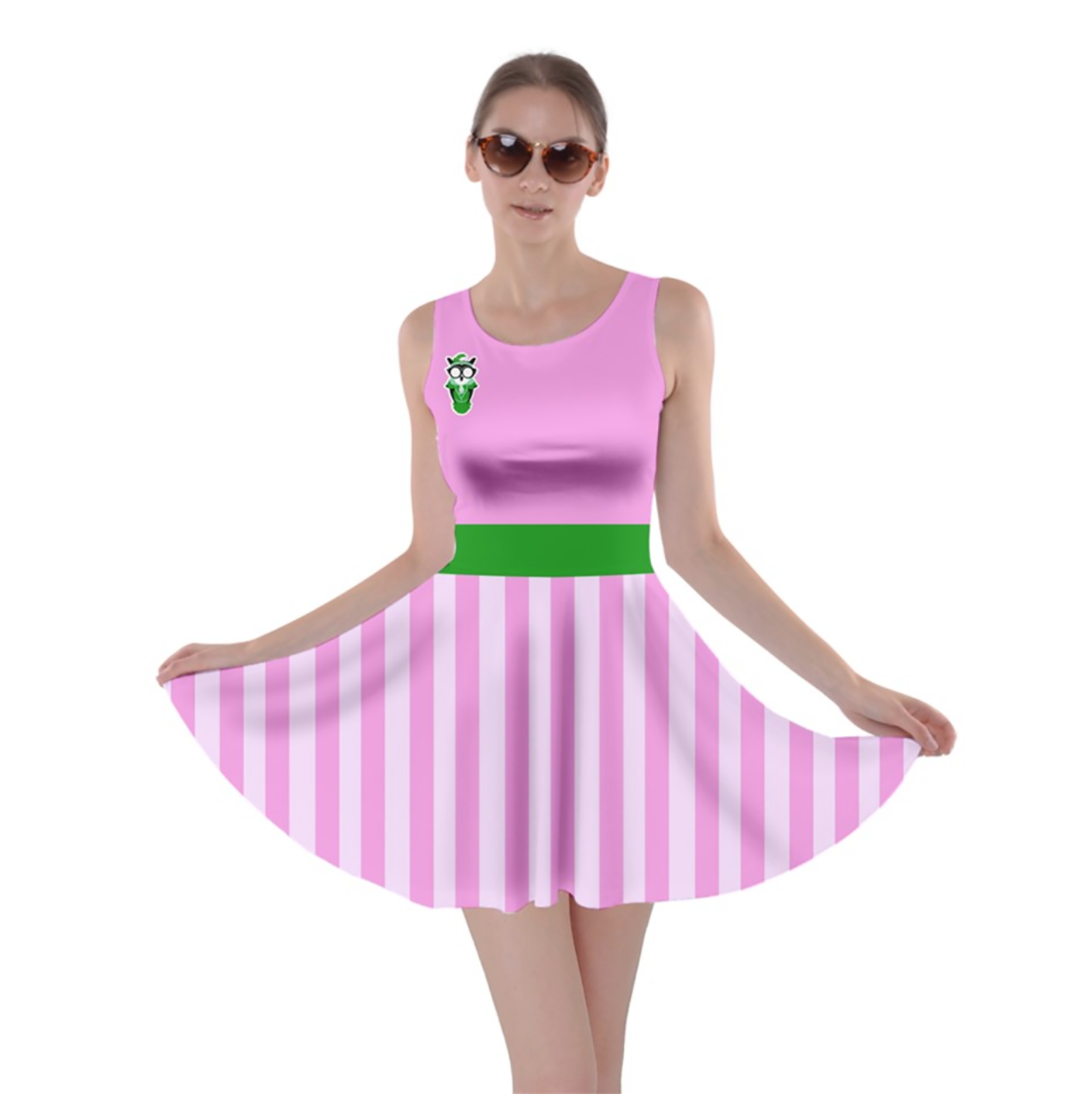 Candy Store Owl Skater Dress (pink striped pattern)