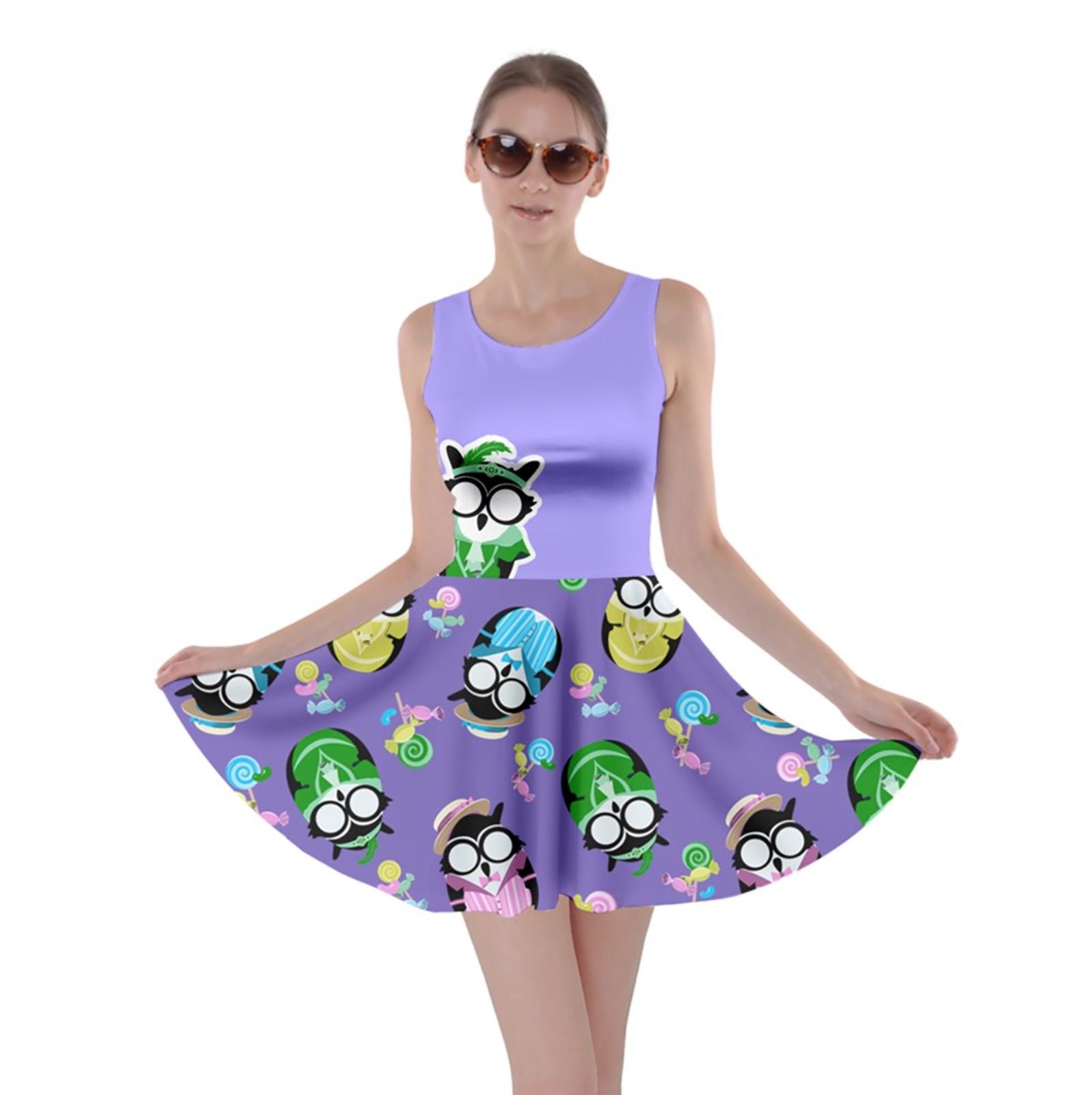 Easter Egg Owl Skater Dress (purple)