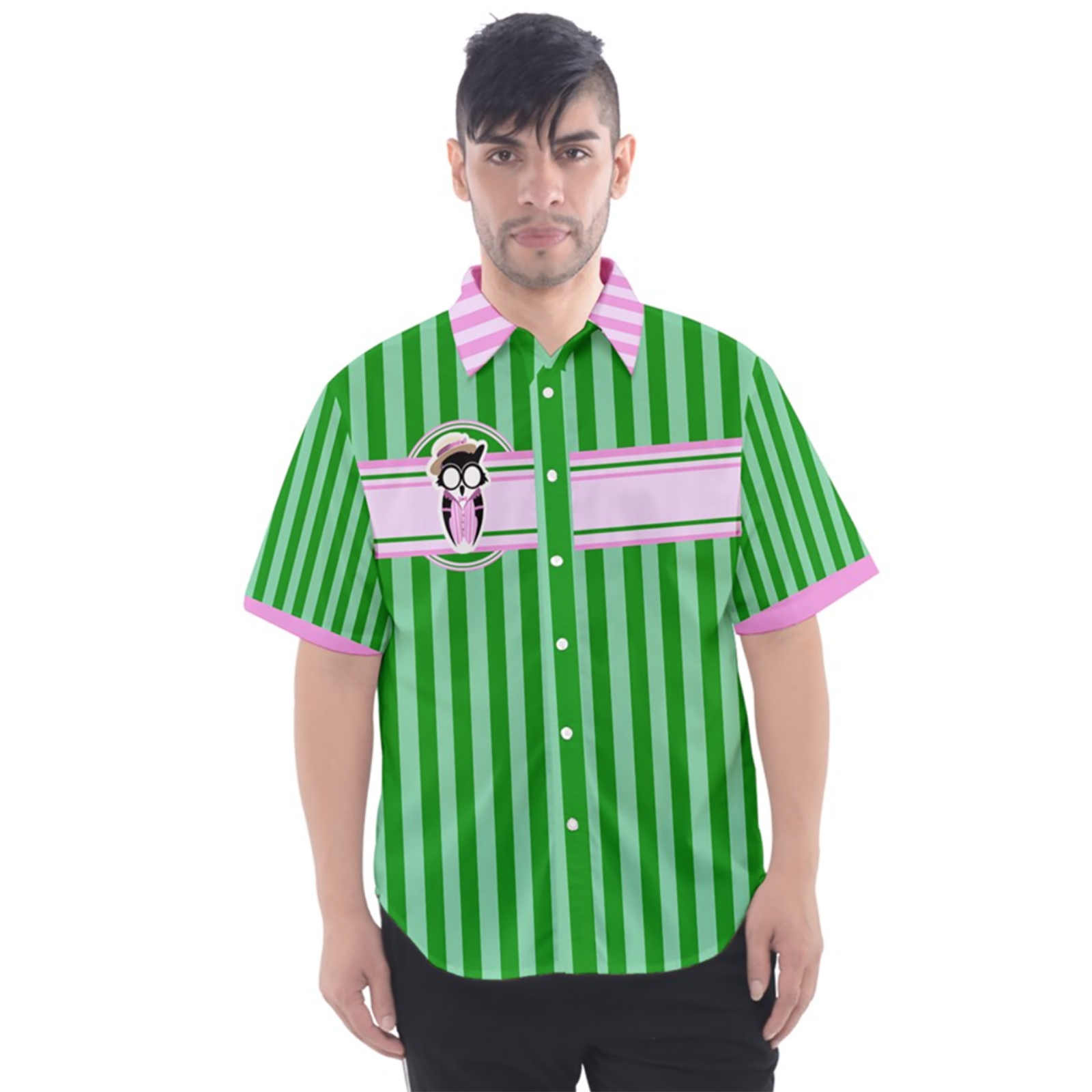 Candy Store Owl (Striped Pattern) Button Up Short Sleeve Shirt