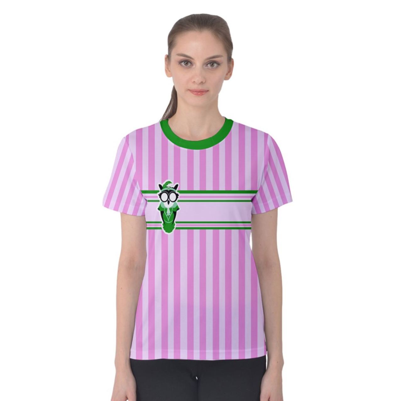 Candy Store Owl Women's Cotton Tee (Striped pattern)