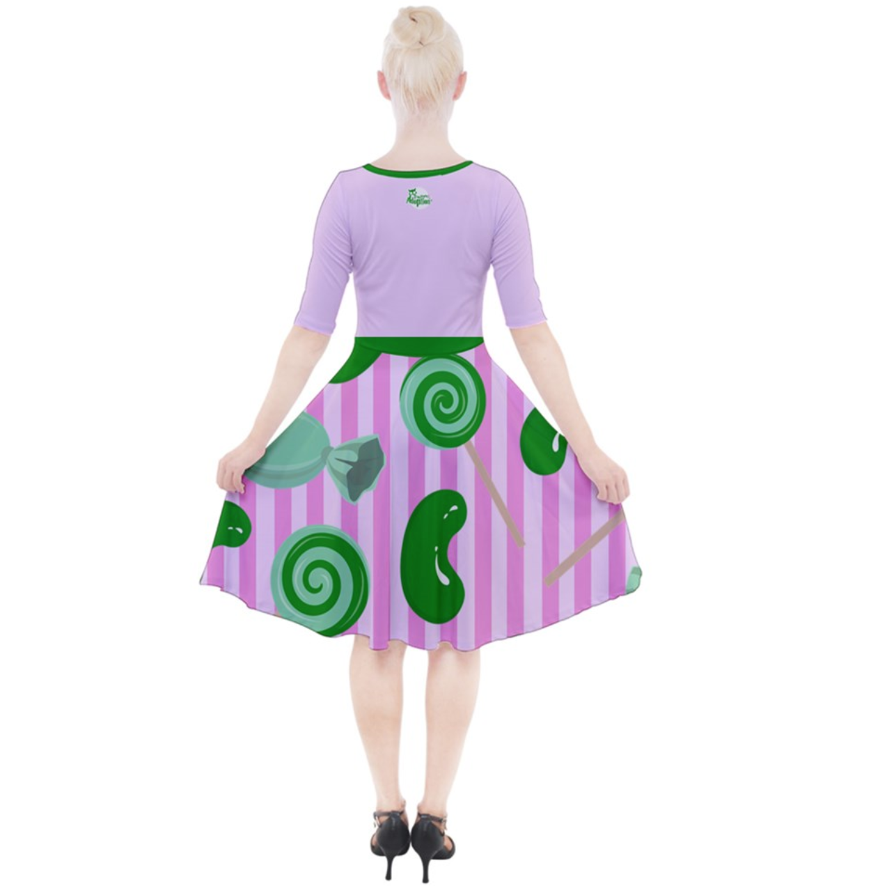 Candy Store Owl (Candy Pattern) Quarter Sleeve A-Line Dress