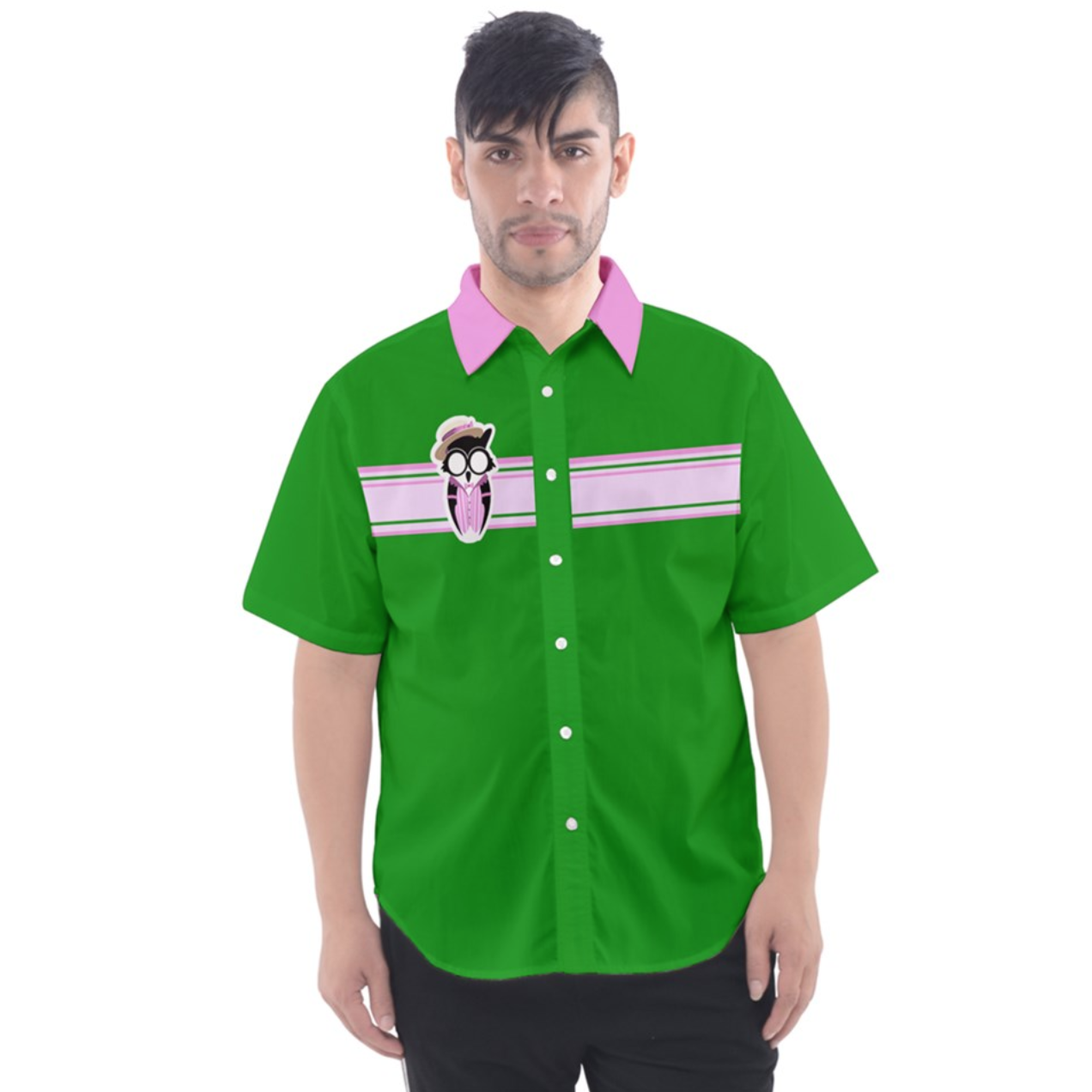 Candy Store Owl (solid background) Button Up Short Sleeve Shirt