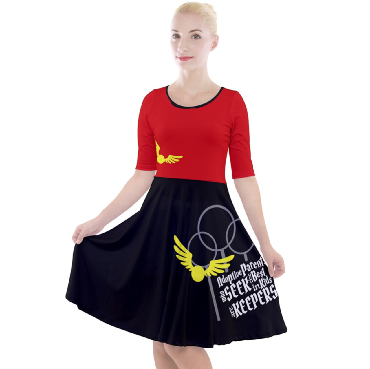 """Magical Sports Quarter Sleeve A-Line Dress - """"Adoptive Parents Who SEEK The Best In Kids Are KEEPERS"""""""