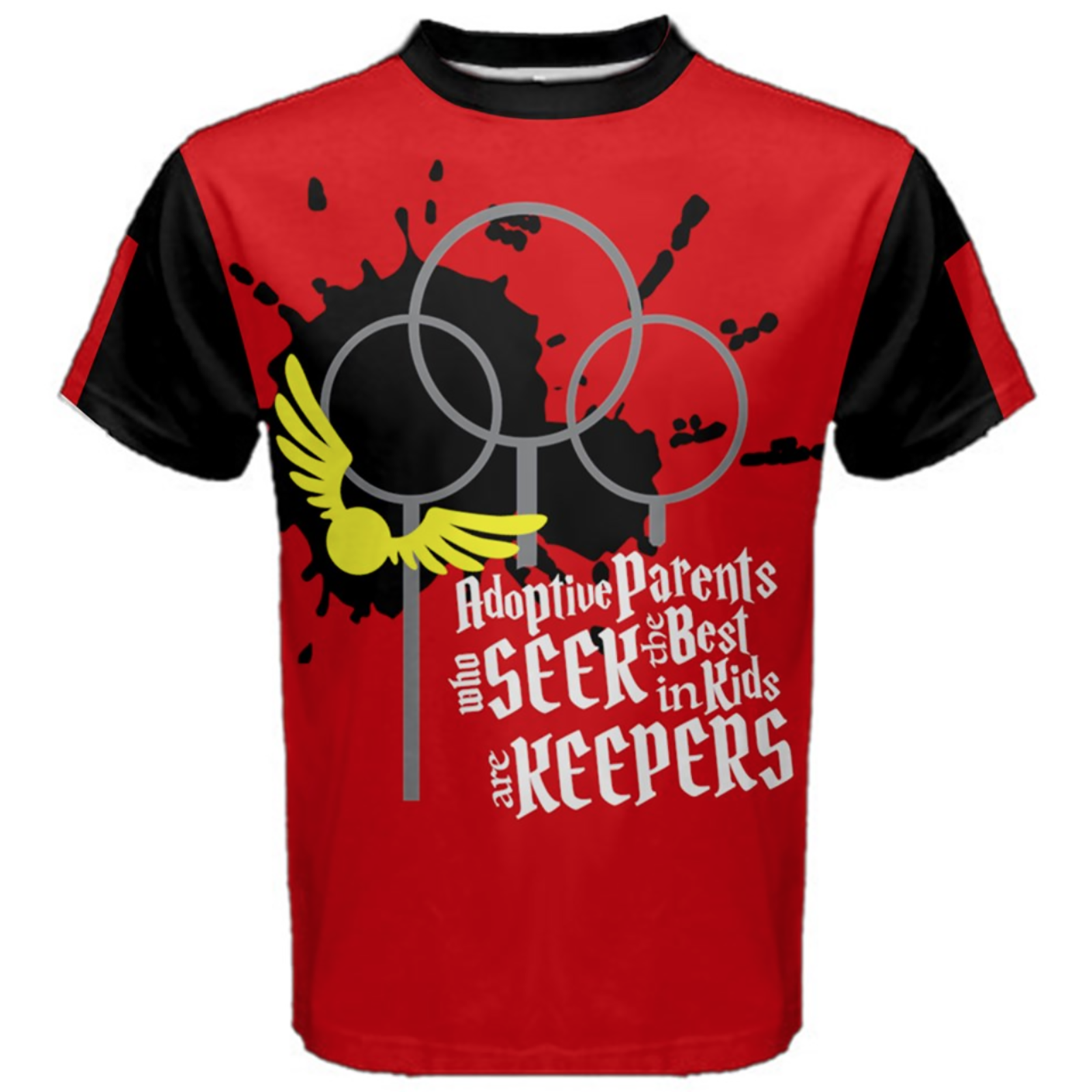 "Magical Sports Design Cotton Tee - ""Adoptive Parents Who SEEK The Best In Kids Are KEEPERS"""