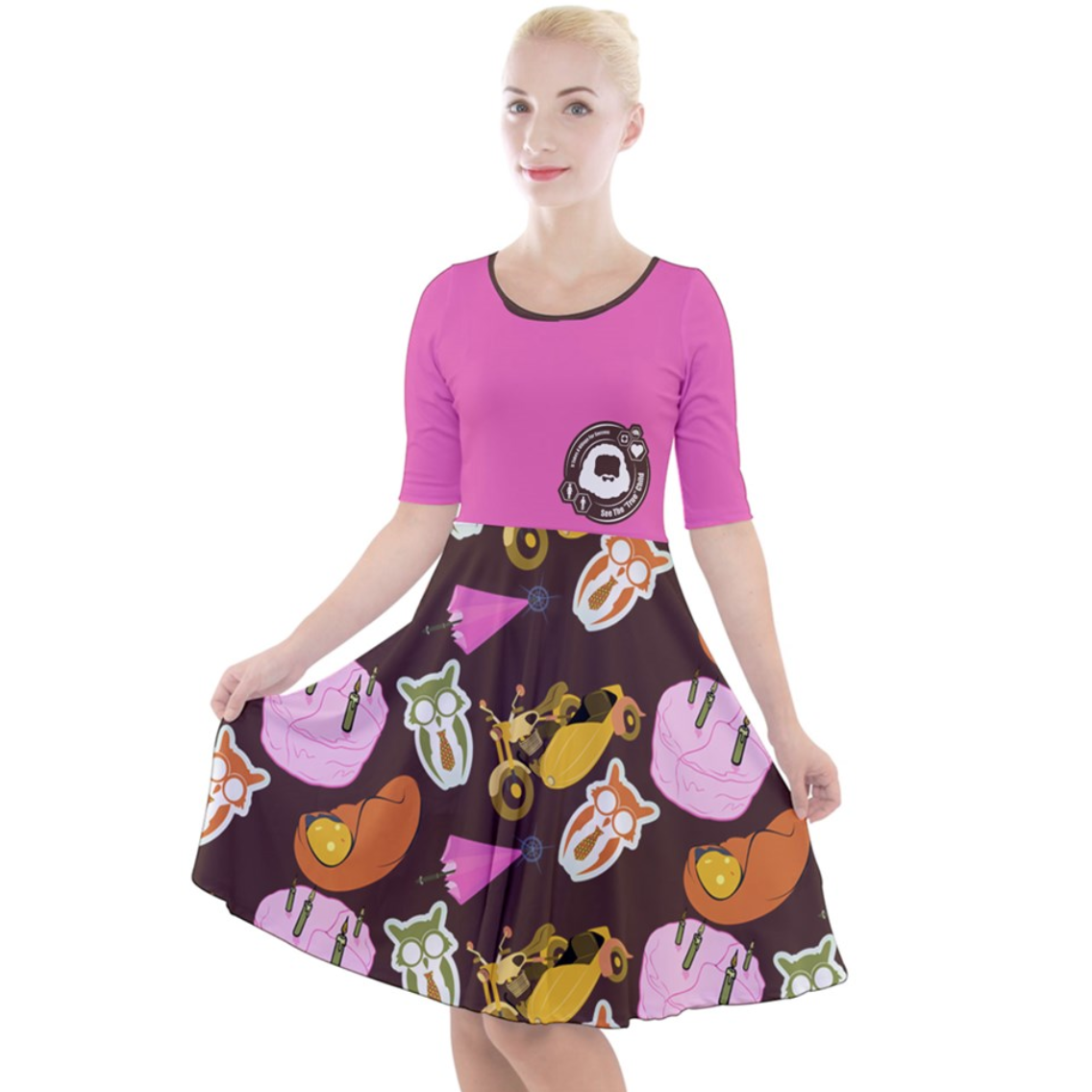 """See The """"TRUE"""" Child (Pink) Quarter Sleeve A-Line Dress - Inspired by literary character, Hagrid"""