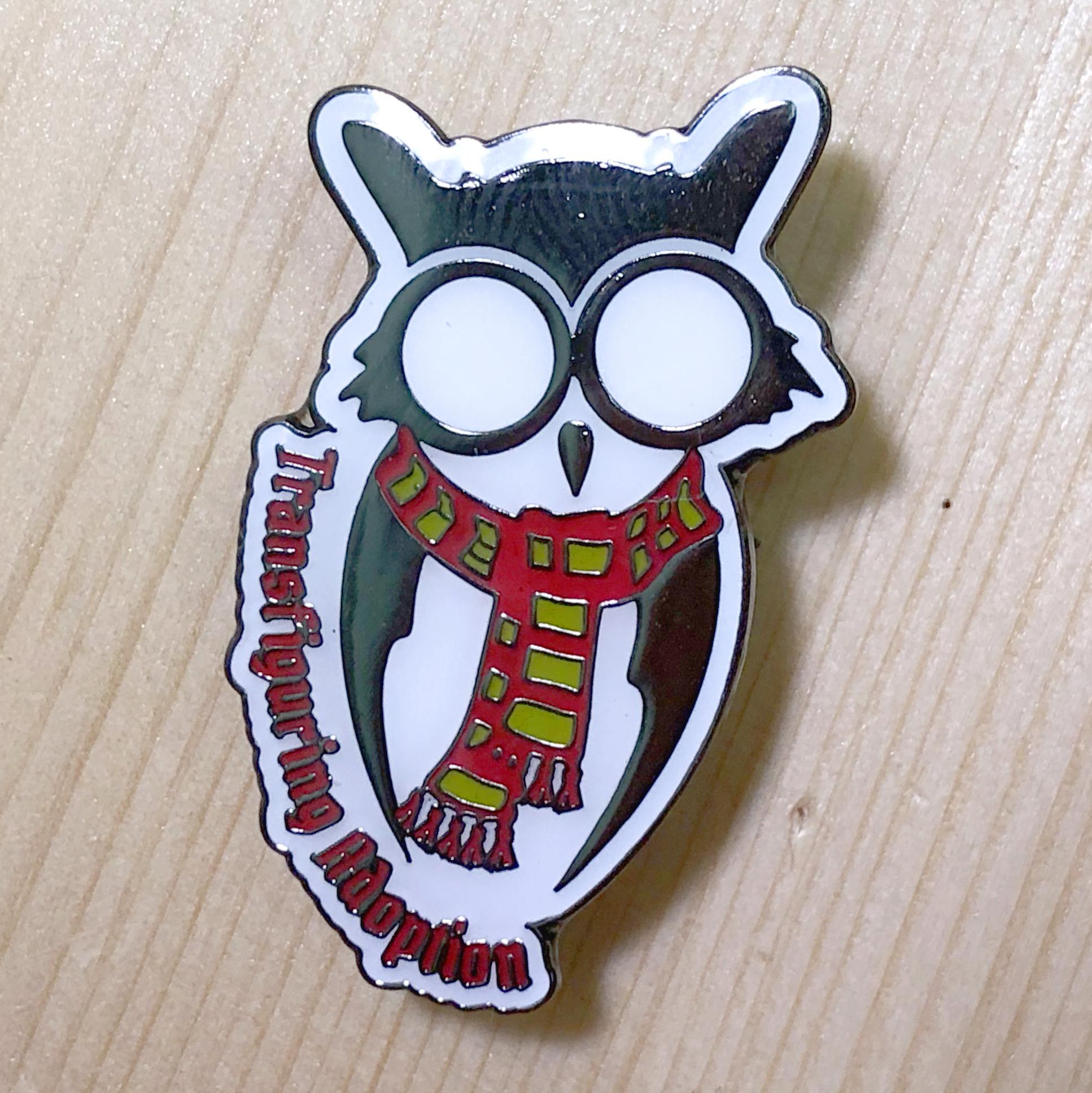 Owl Pin (Red/Yellow Scarf)